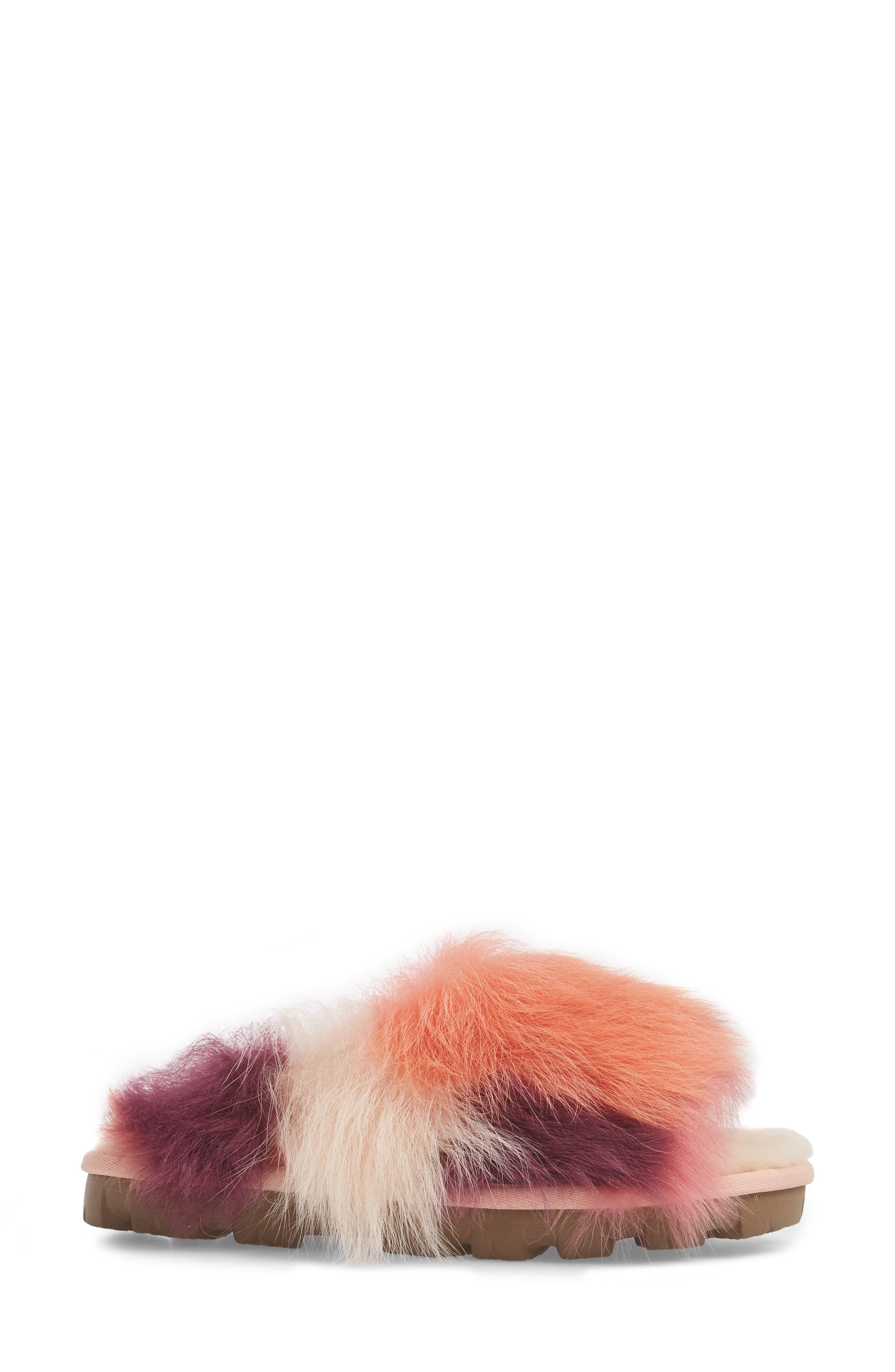 Shag It Crazy Genuine Toscana Shearling Slide Sandal,                             Alternate thumbnail 6, color,