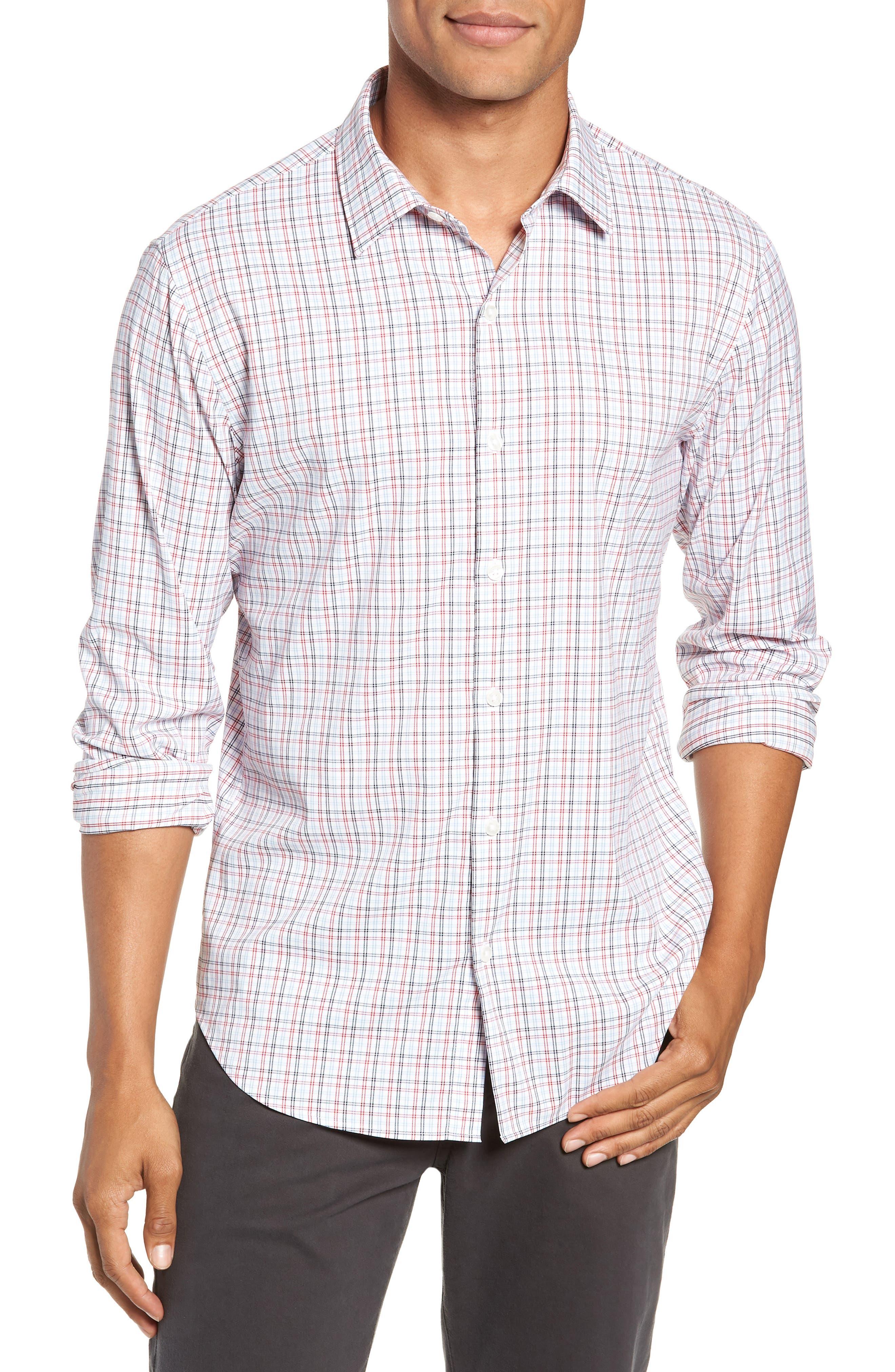 Slim Fit Check Performance Sport Shirt,                         Main,                         color, HILLGROVE CHECK - CERISE