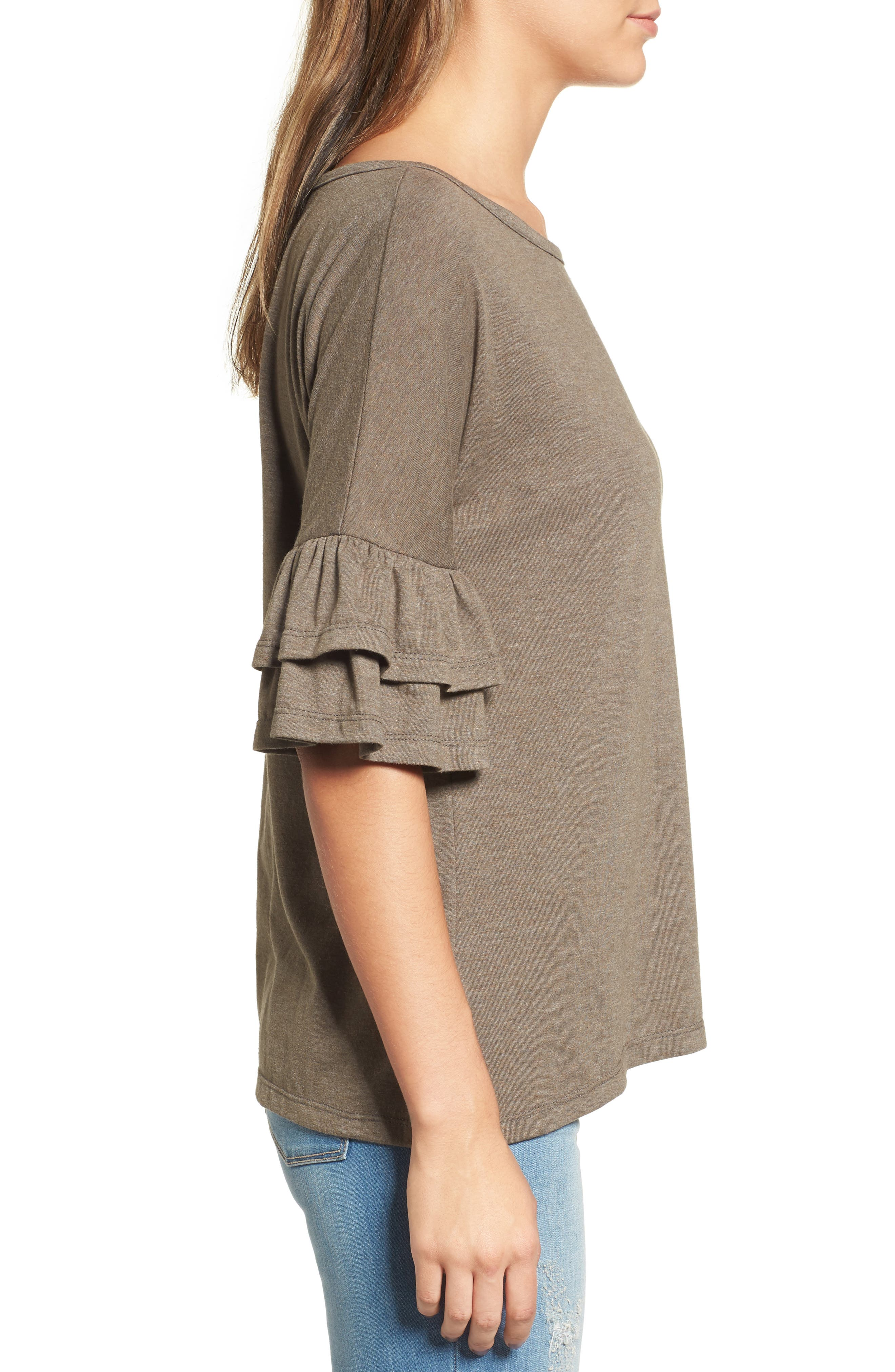 Tiered Bell Sleeve Tee,                             Alternate thumbnail 21, color,
