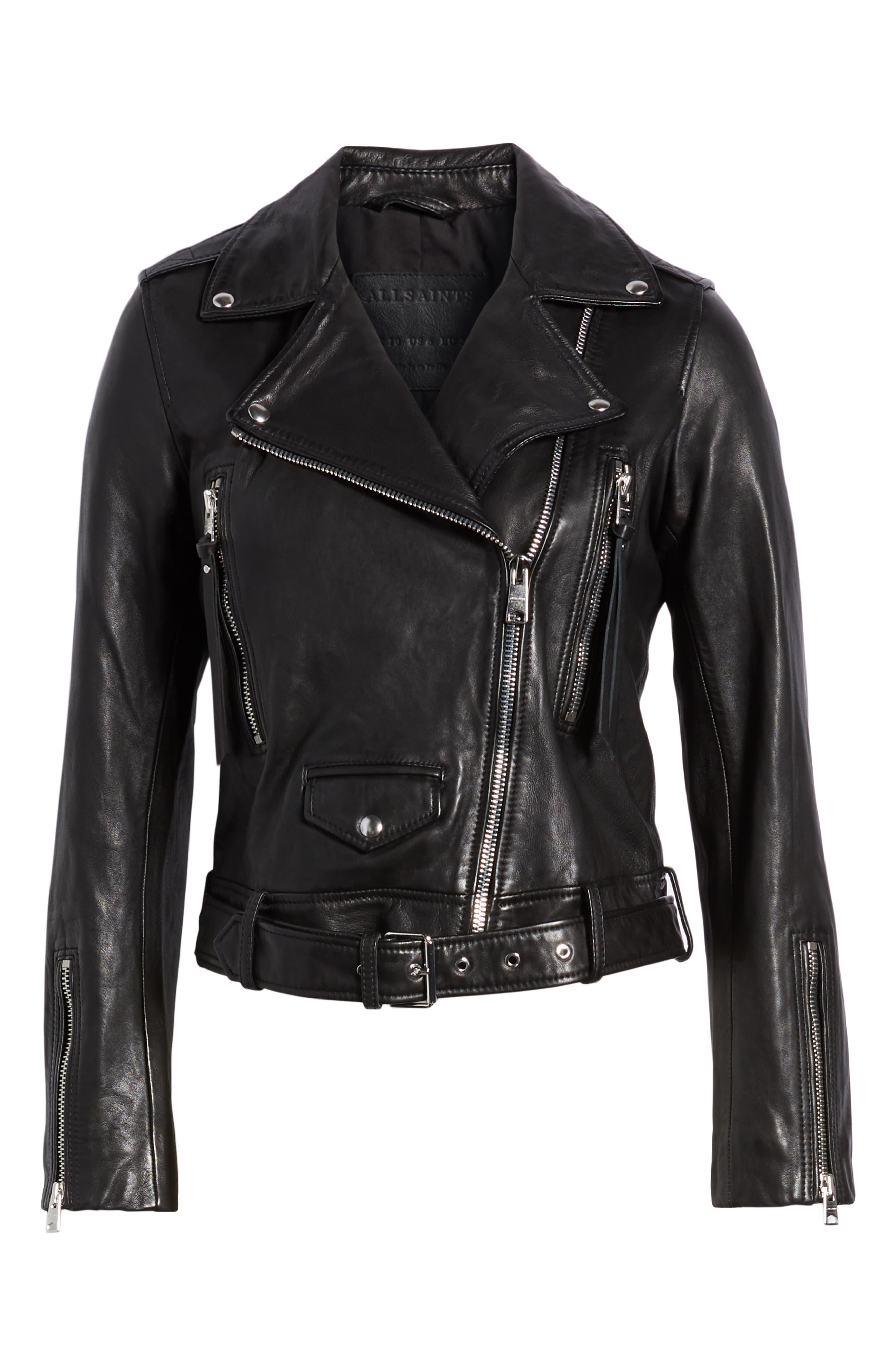Juno Leather Biker Jacket,                             Alternate thumbnail 6, color,                             BLACK