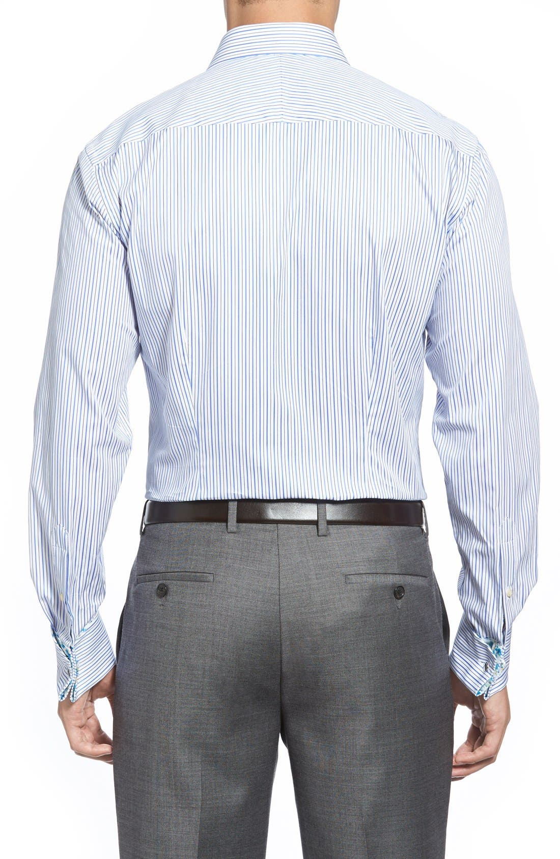 'Takeley' Trim Fit Stripe French Cuff Dress Shirt,                             Alternate thumbnail 3, color,                             421