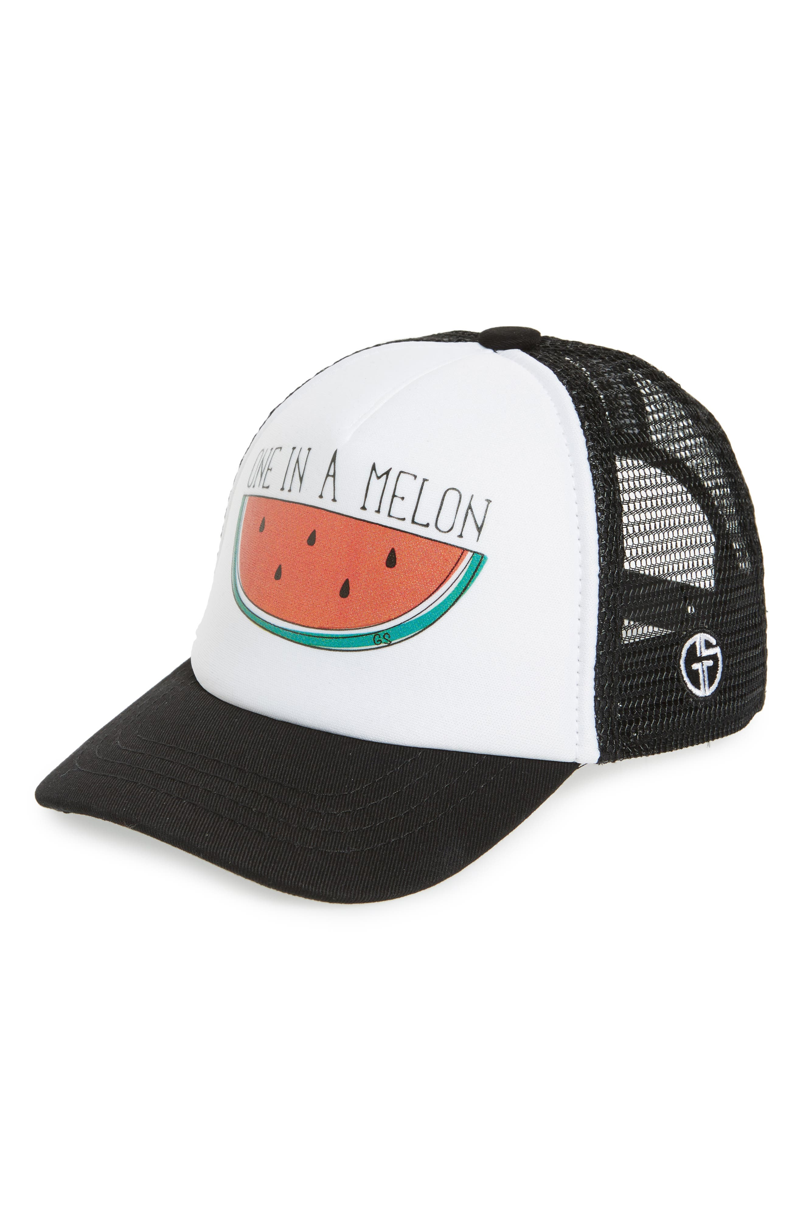 One in a Melon Trucker Hat,                             Main thumbnail 1, color,                             BLACK/ WHITE