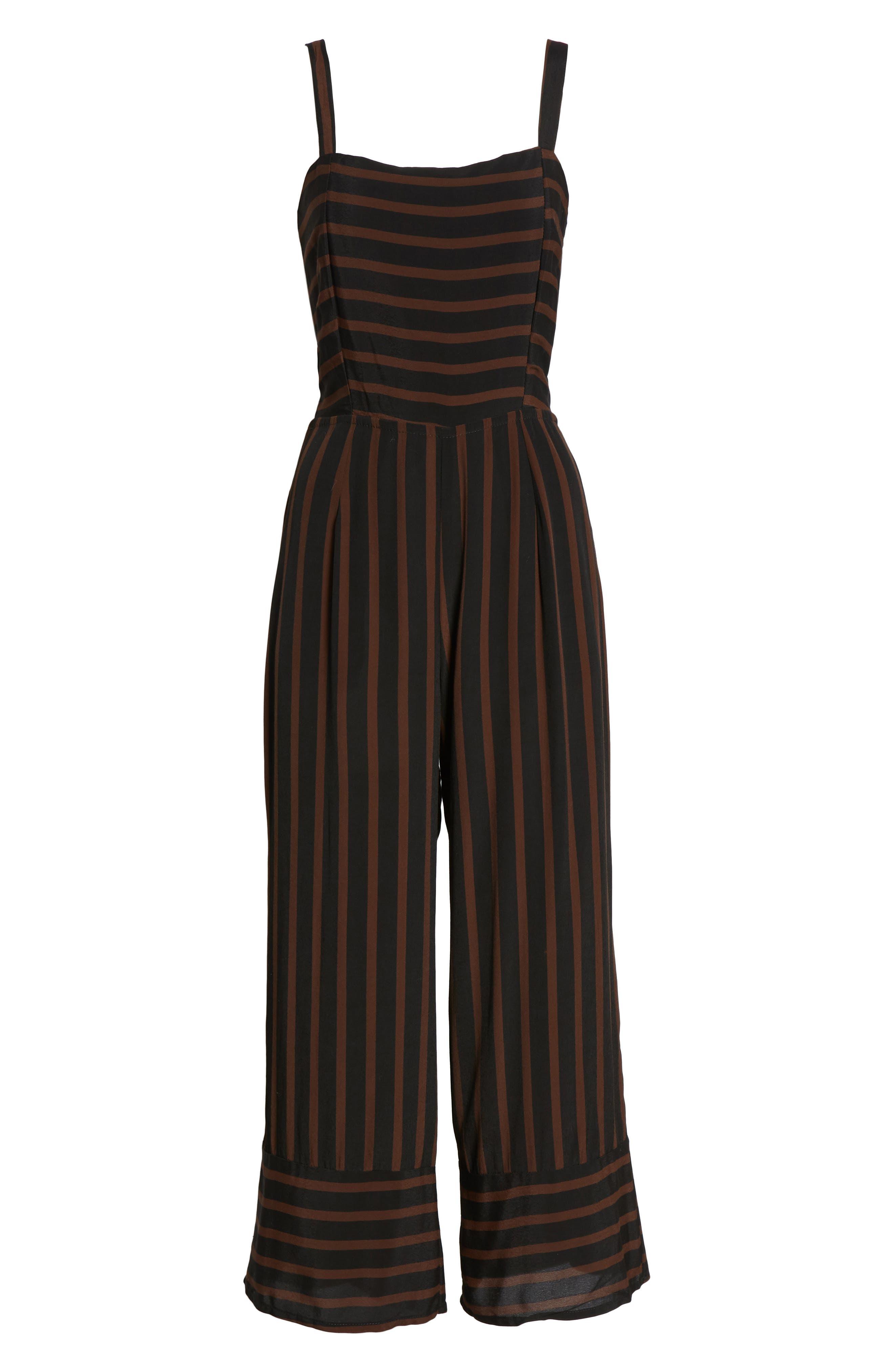 Guanabo Tie Back Stripe Jumpsuit,                             Alternate thumbnail 4, color,                             MAZUR STRIPE - ESPRESSO