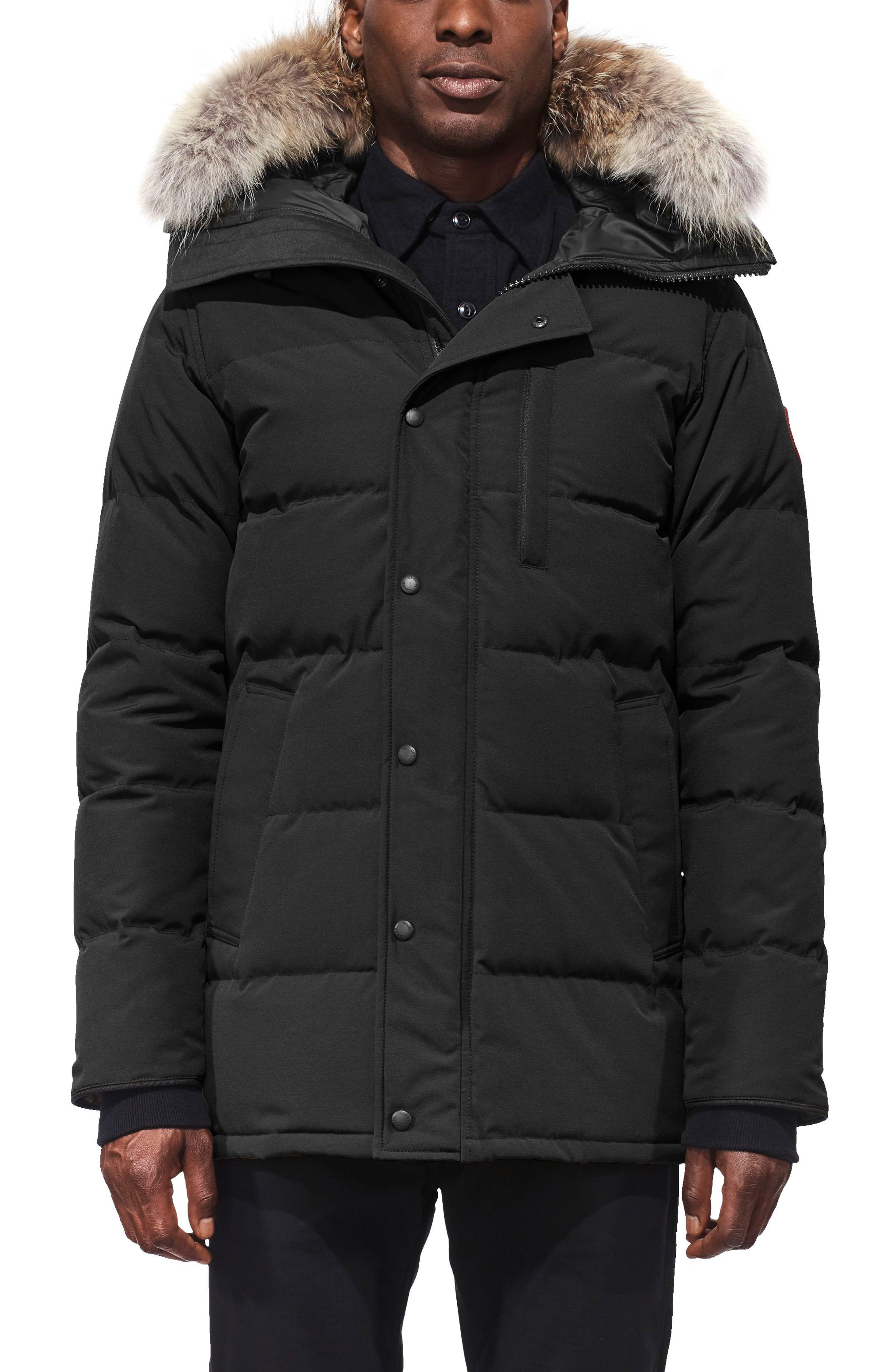 'Carson' Slim Fit Hooded Packable Parka with Genuine Coyote Fur Trim,                         Main,                         color, BLACK