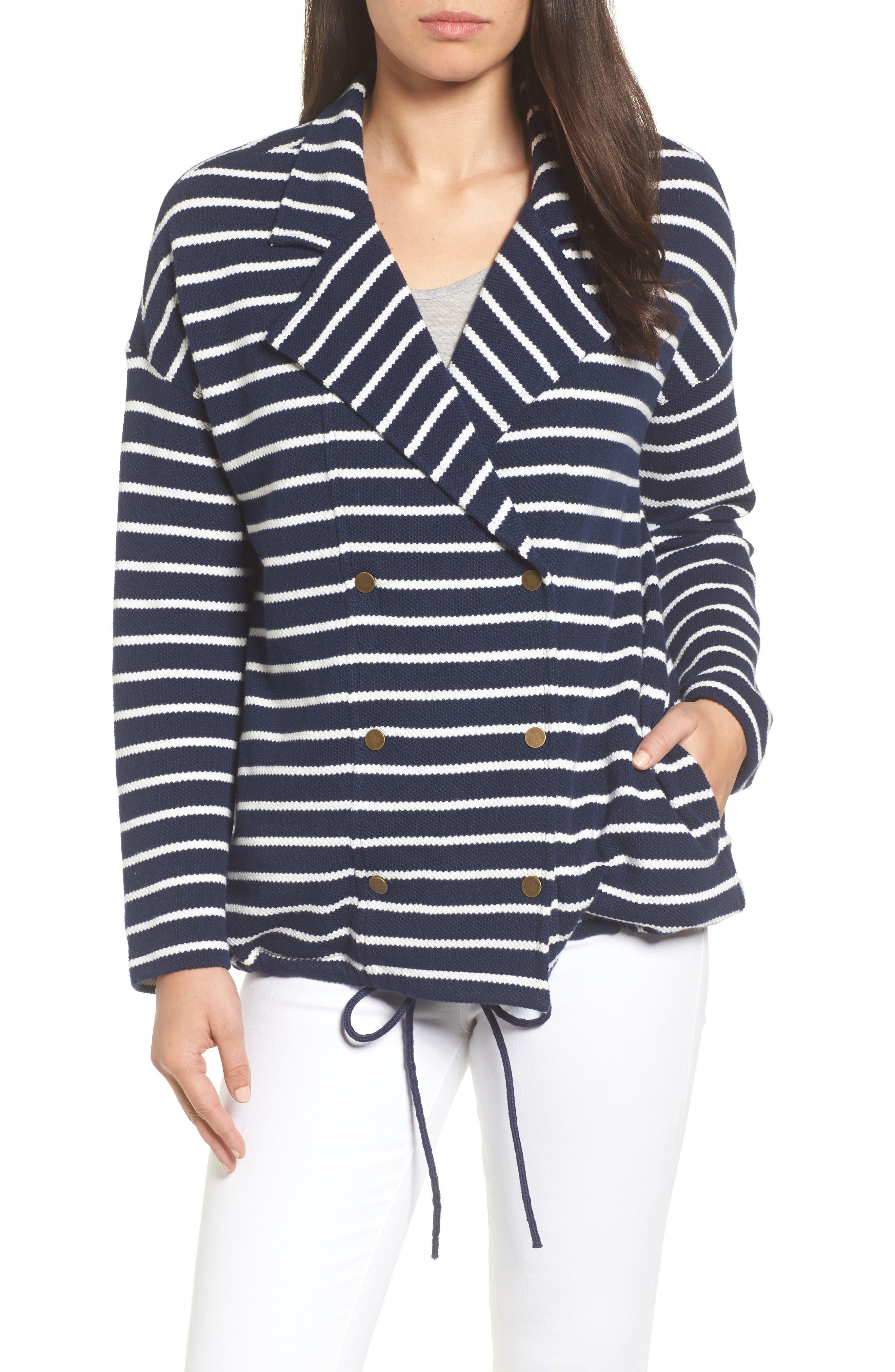 Stripe Knit Drawsting Jacket,                             Main thumbnail 1, color,                             410