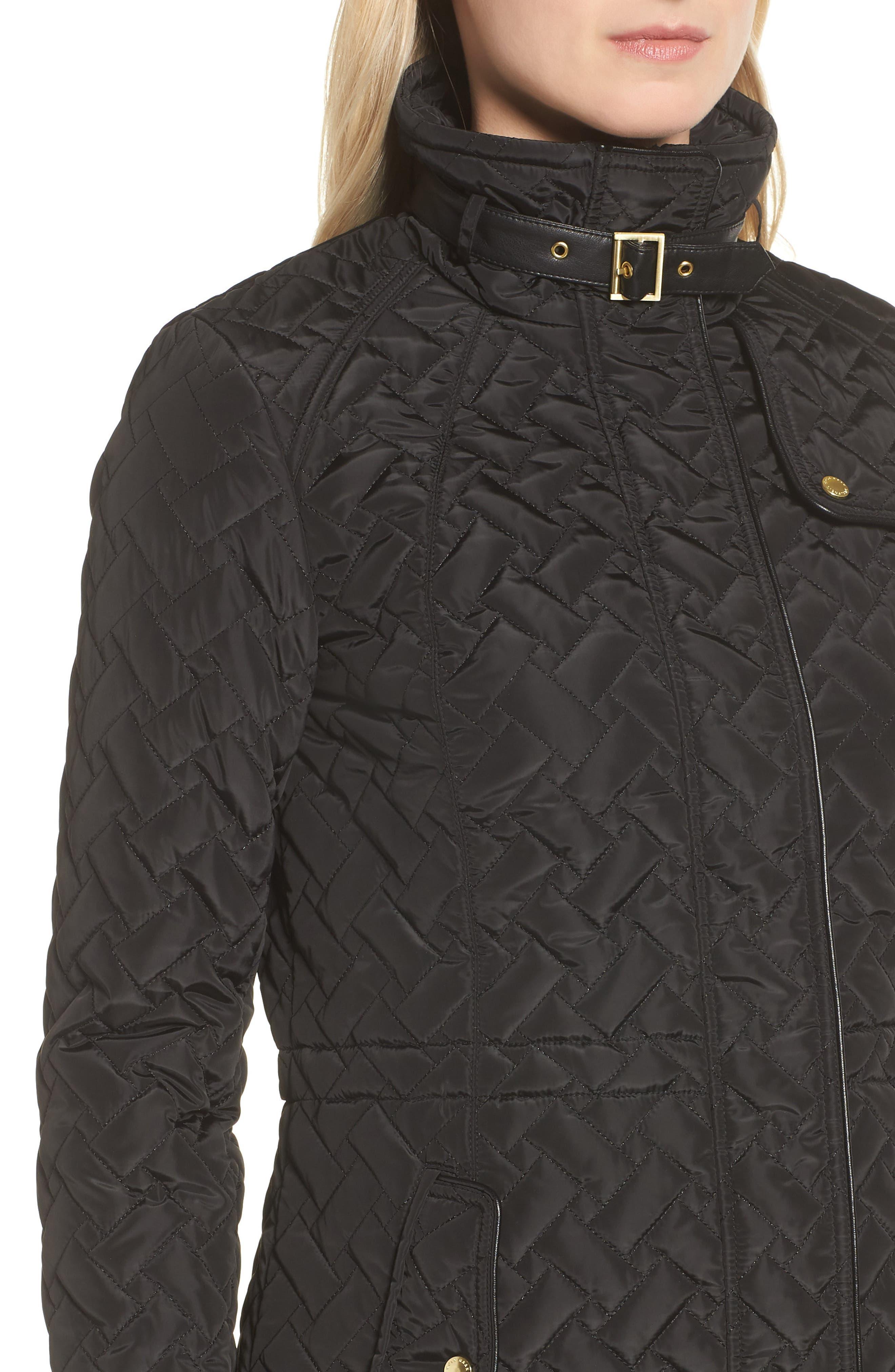 Quilted Short Coat,                             Alternate thumbnail 4, color,                             BLACK