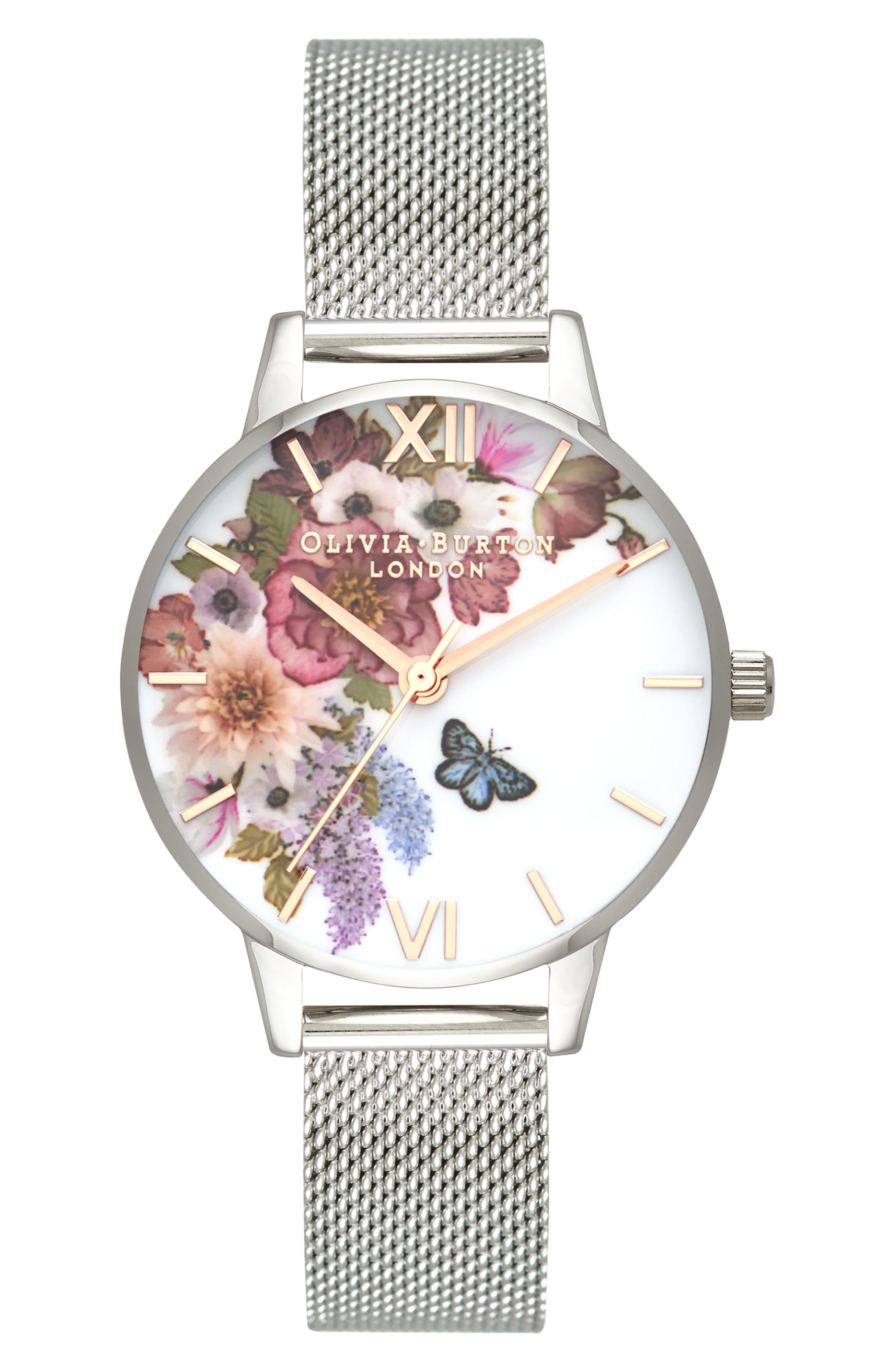 Enchanted Garden Mesh Strap Watch, 30mm,                             Main thumbnail 1, color,                             SILVER/ FLORAL/ ROSE GOLD