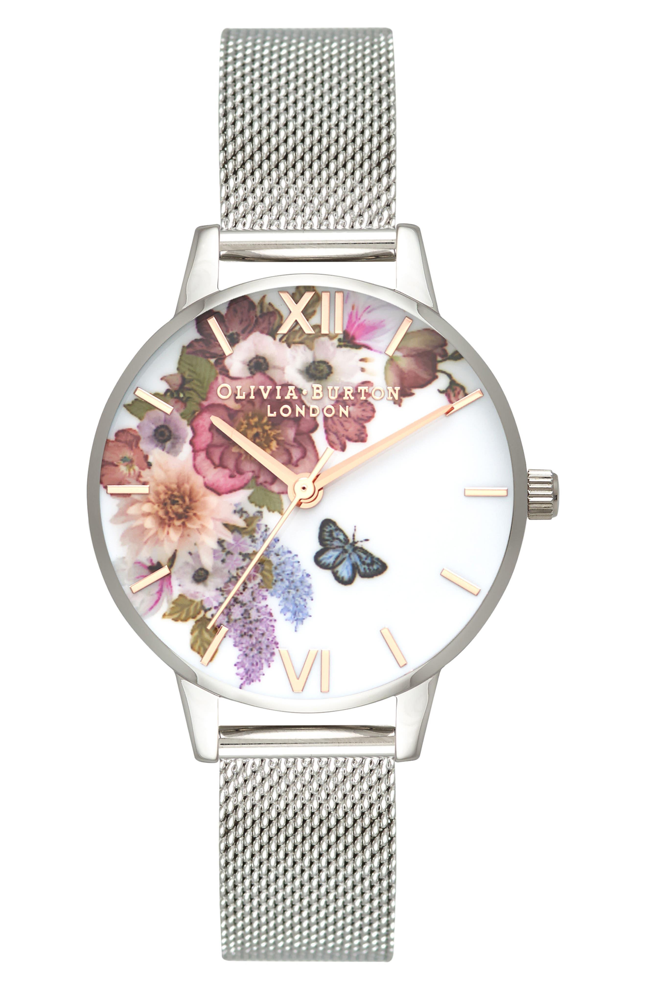 Enchanted Garden Mesh Strap Watch, 30mm,                             Main thumbnail 1, color,                             044
