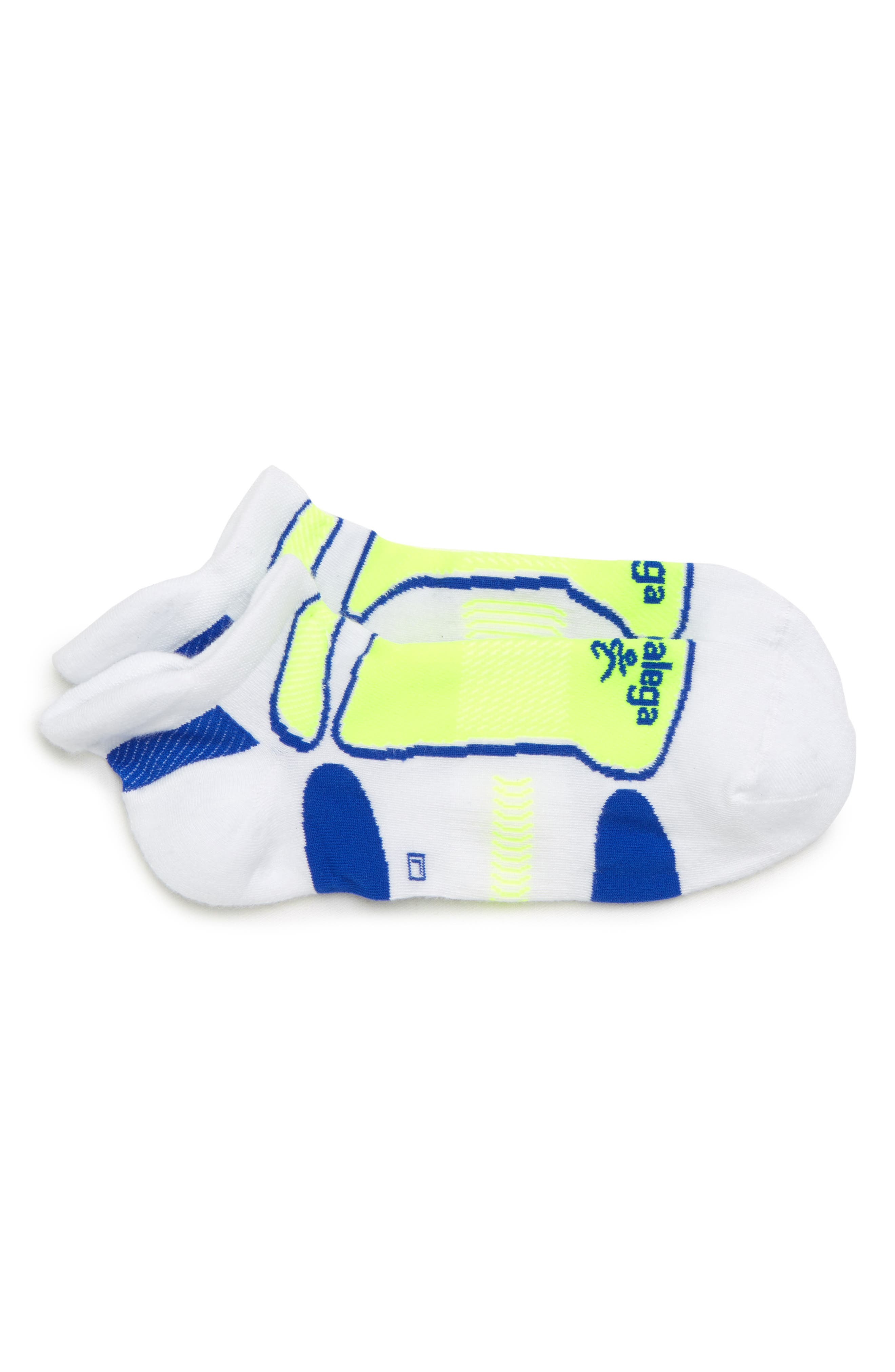 Ultra Light Socks,                             Main thumbnail 1, color,                             WHITE/ NEON YELLOW/ ROYAL