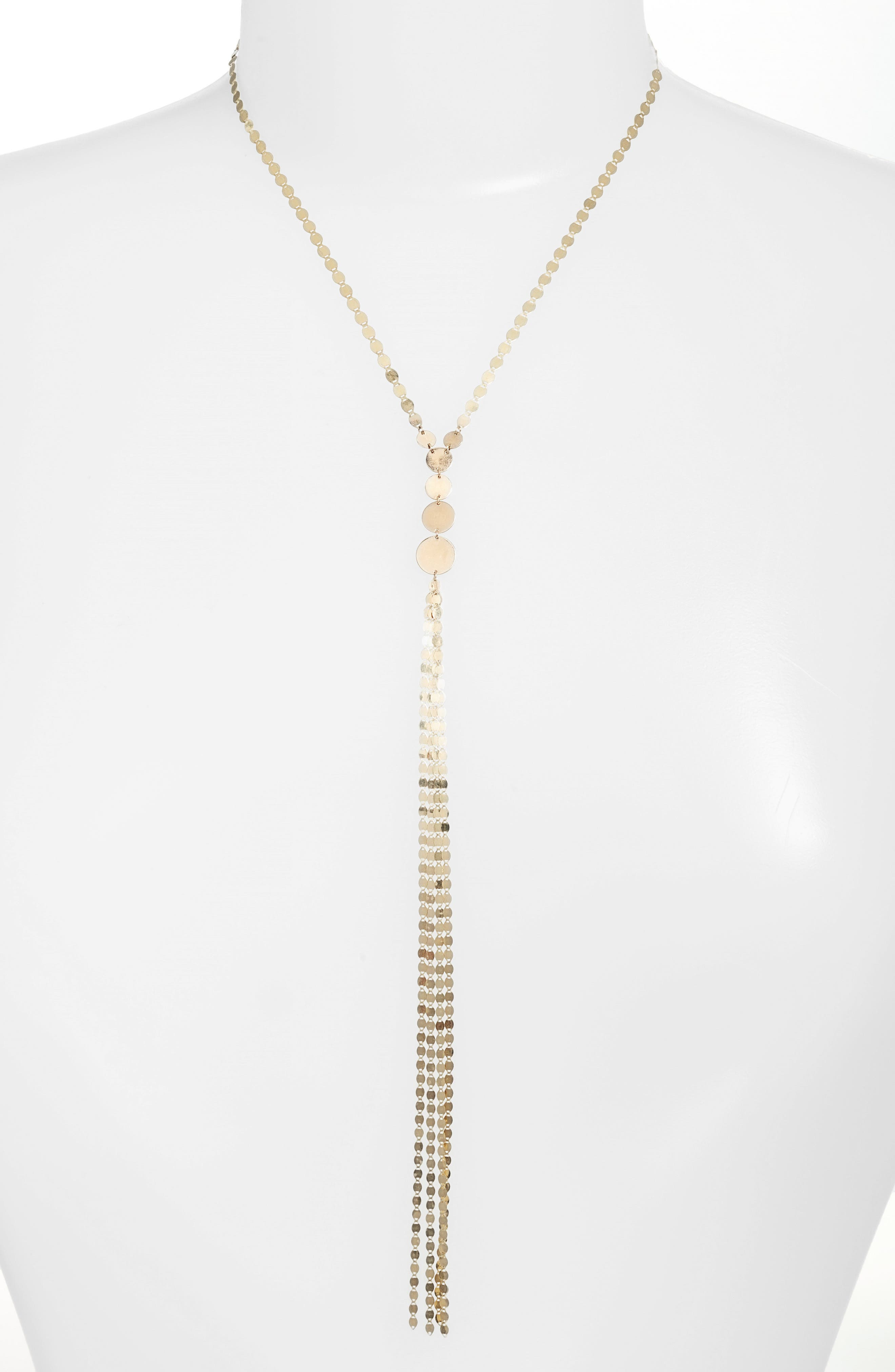 Disc Y-Necklace,                         Main,                         color, YELLOW GOLD