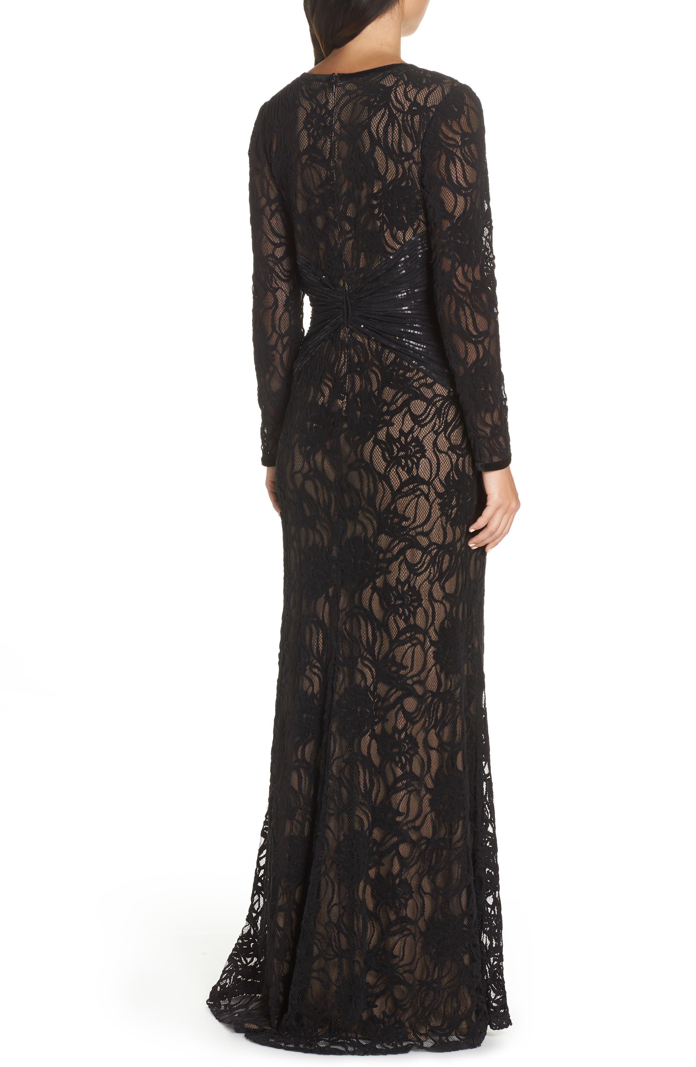 Burnout Lace Gown,                             Alternate thumbnail 2, color,                             BLACK/ NUDE