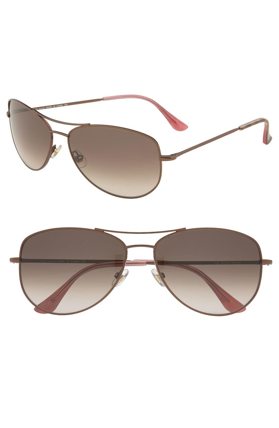 kate spade 'ally' metal aviator sunglasses, Main, color, 200