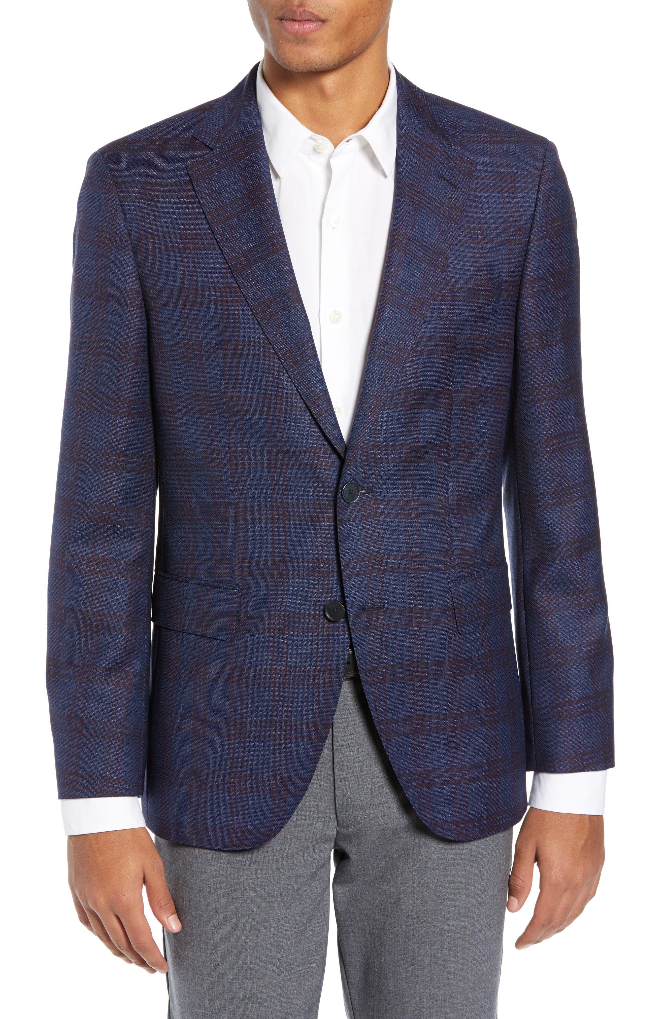 Jewels Classic Fit Plaid Wool Sport Coat, Main, color, OPEN BLUE