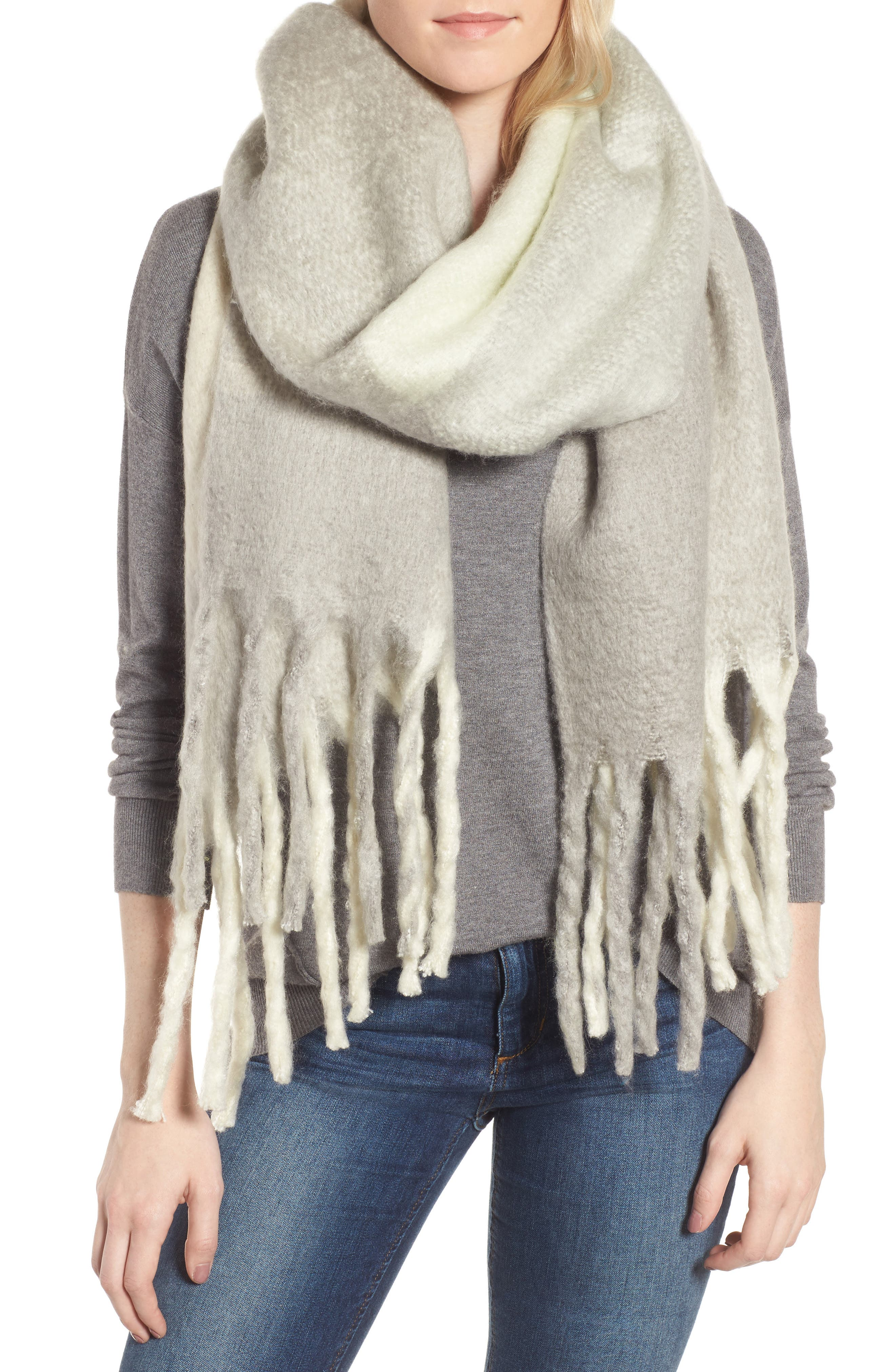 Cameron Plaid Fringe Scarf,                         Main,                         color, 400