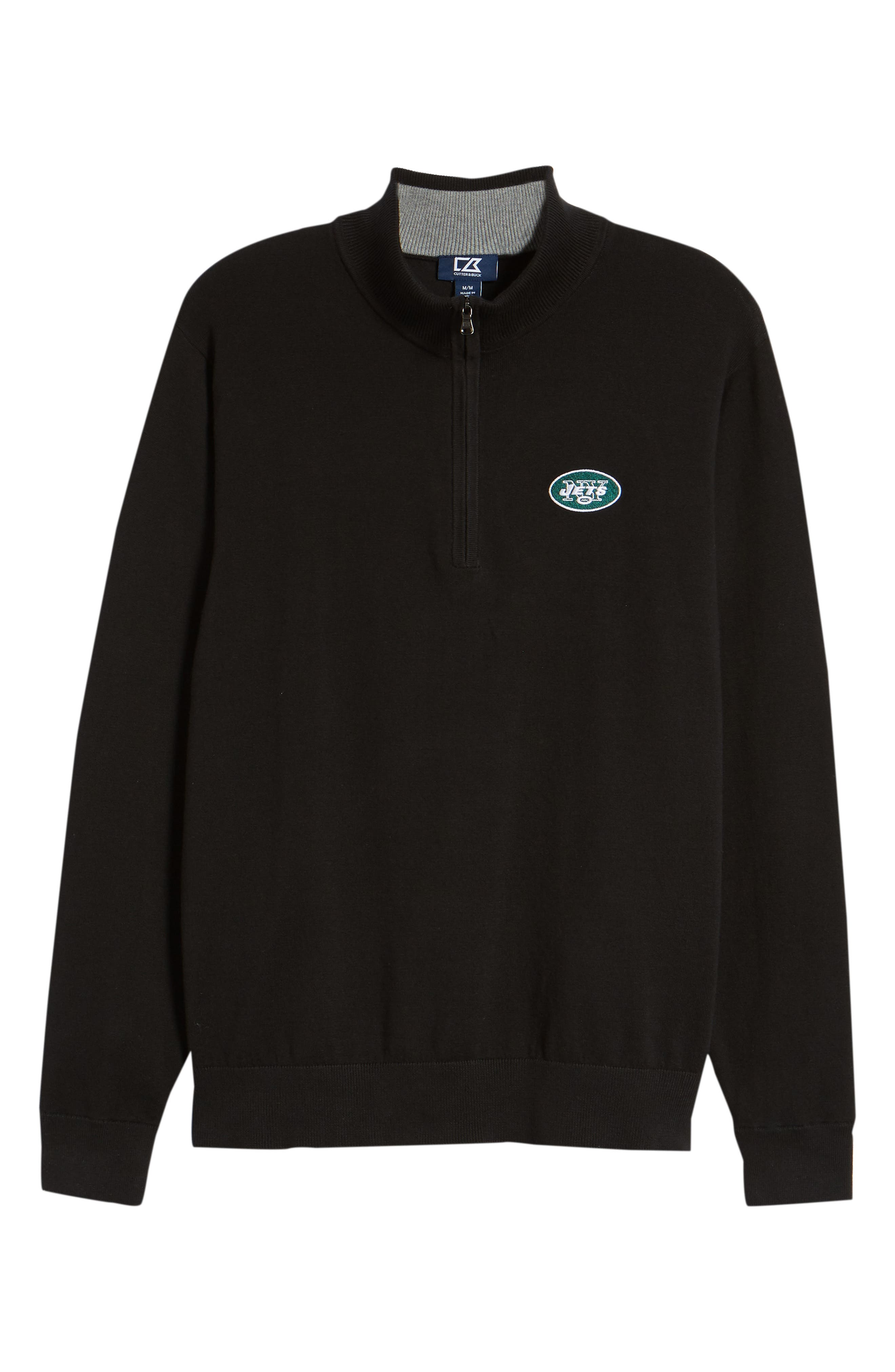 New York Jets - Lakemont Regular Fit Quarter Zip Sweater,                             Alternate thumbnail 6, color,                             BLACK