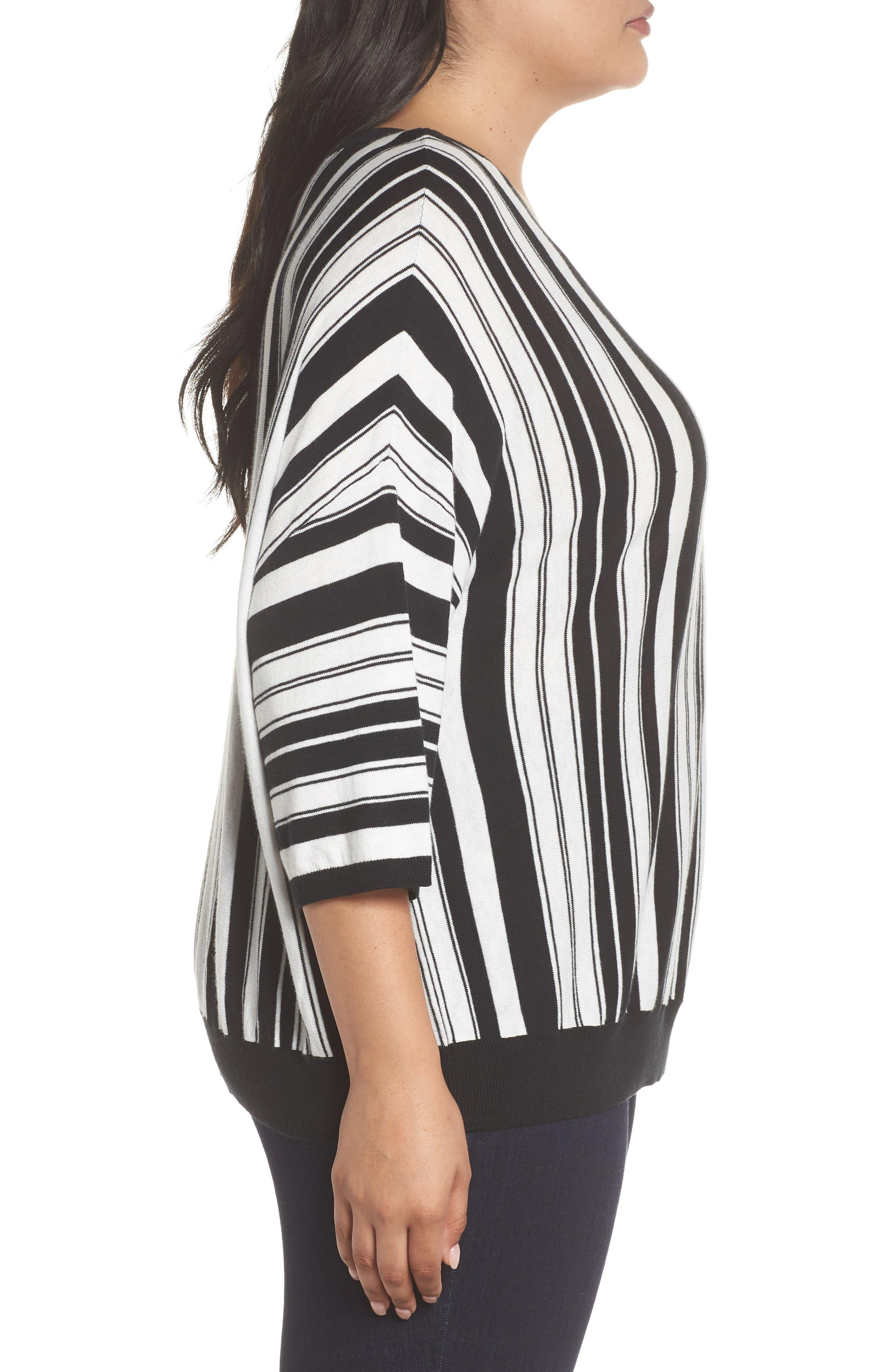 Stripe Pullover,                             Alternate thumbnail 3, color,                             BLACK- WHITE FIERCE STRIPE