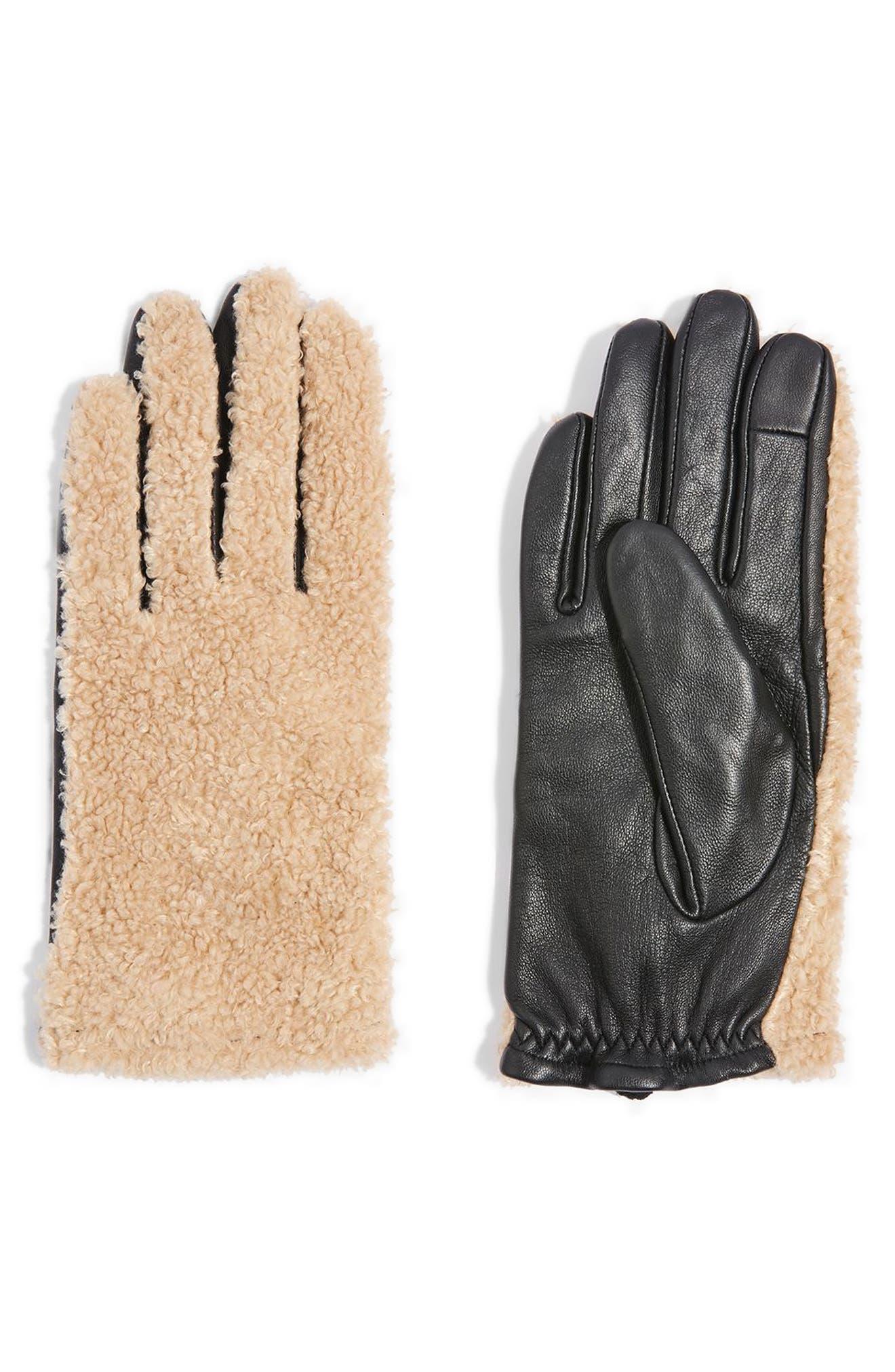 Faux Fur & Leather Gloves,                         Main,                         color, 001