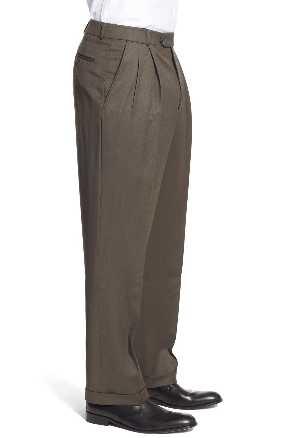 Pleated Solid Wool Trousers,                             Alternate thumbnail 37, color,