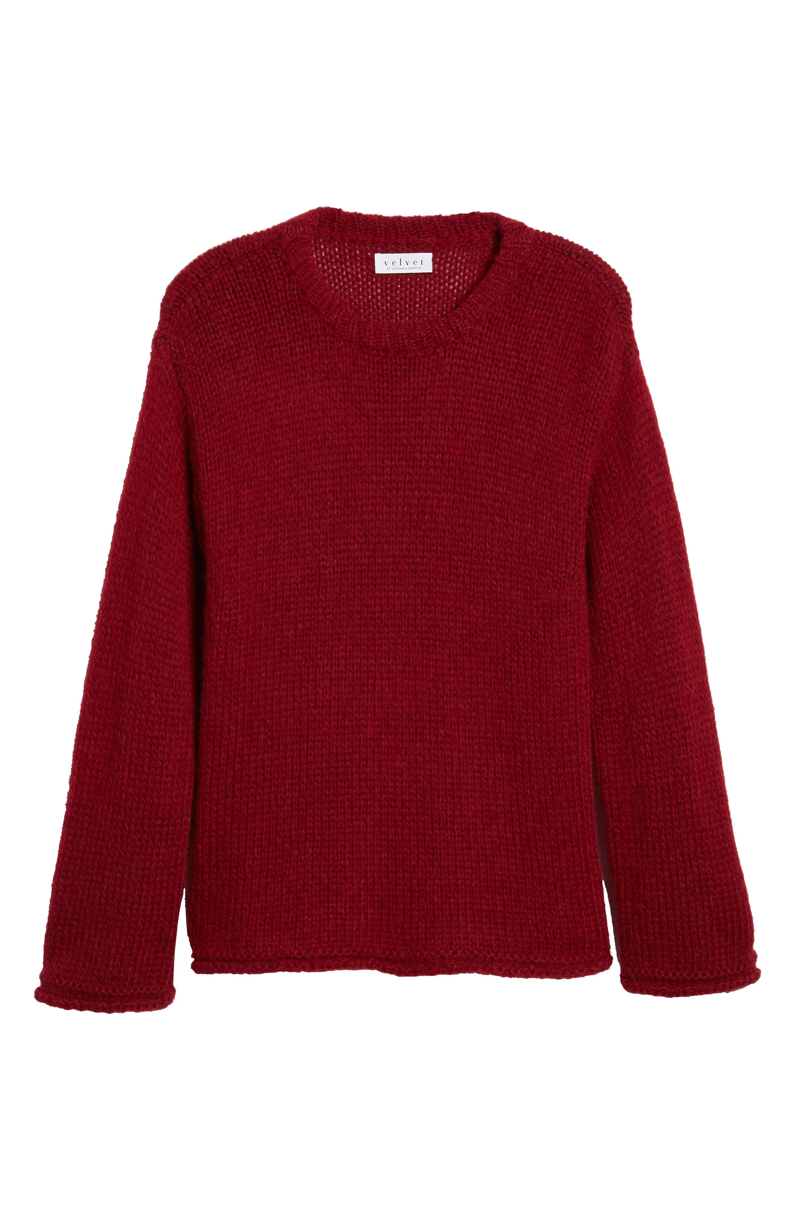 Wool Alpaca Blend Crewneck Sweater,                             Alternate thumbnail 6, color,                             WINE