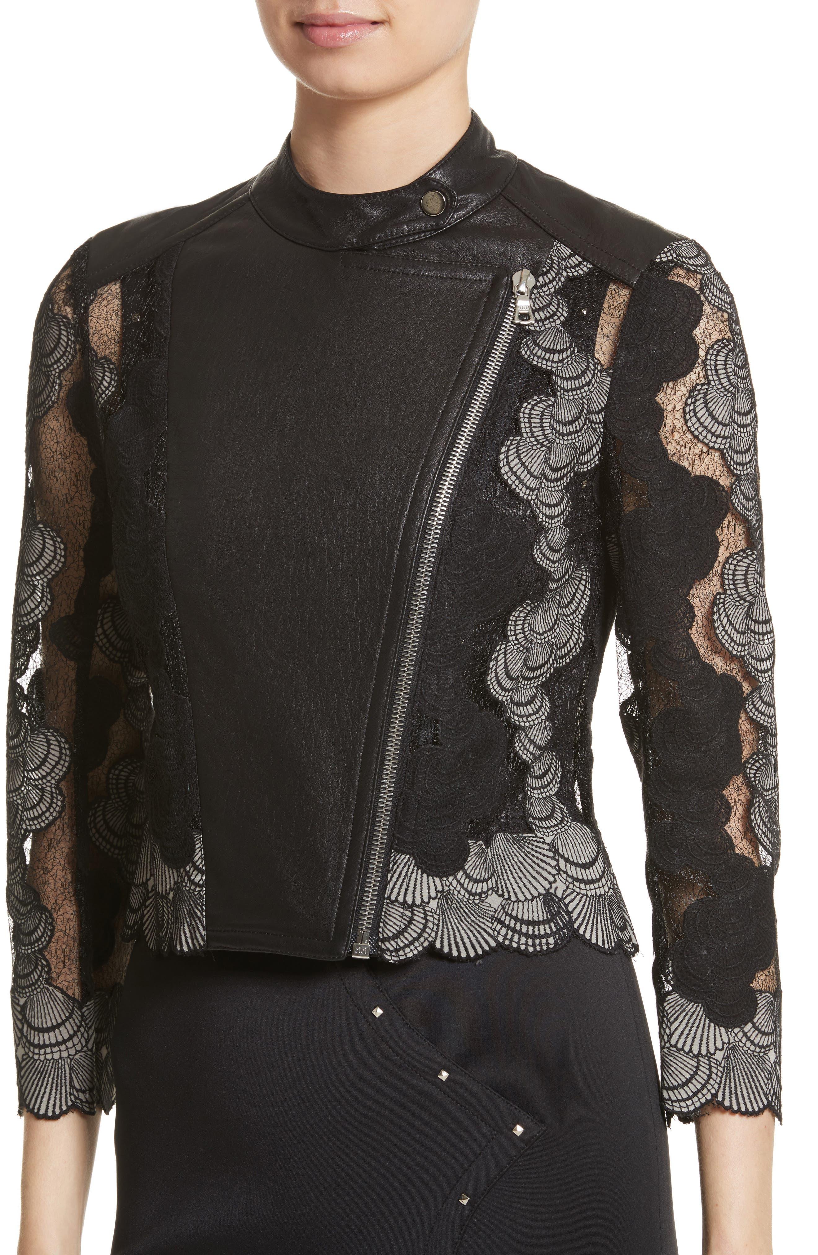 Seashell Lace Moto Jacket,                             Alternate thumbnail 4, color,                             001