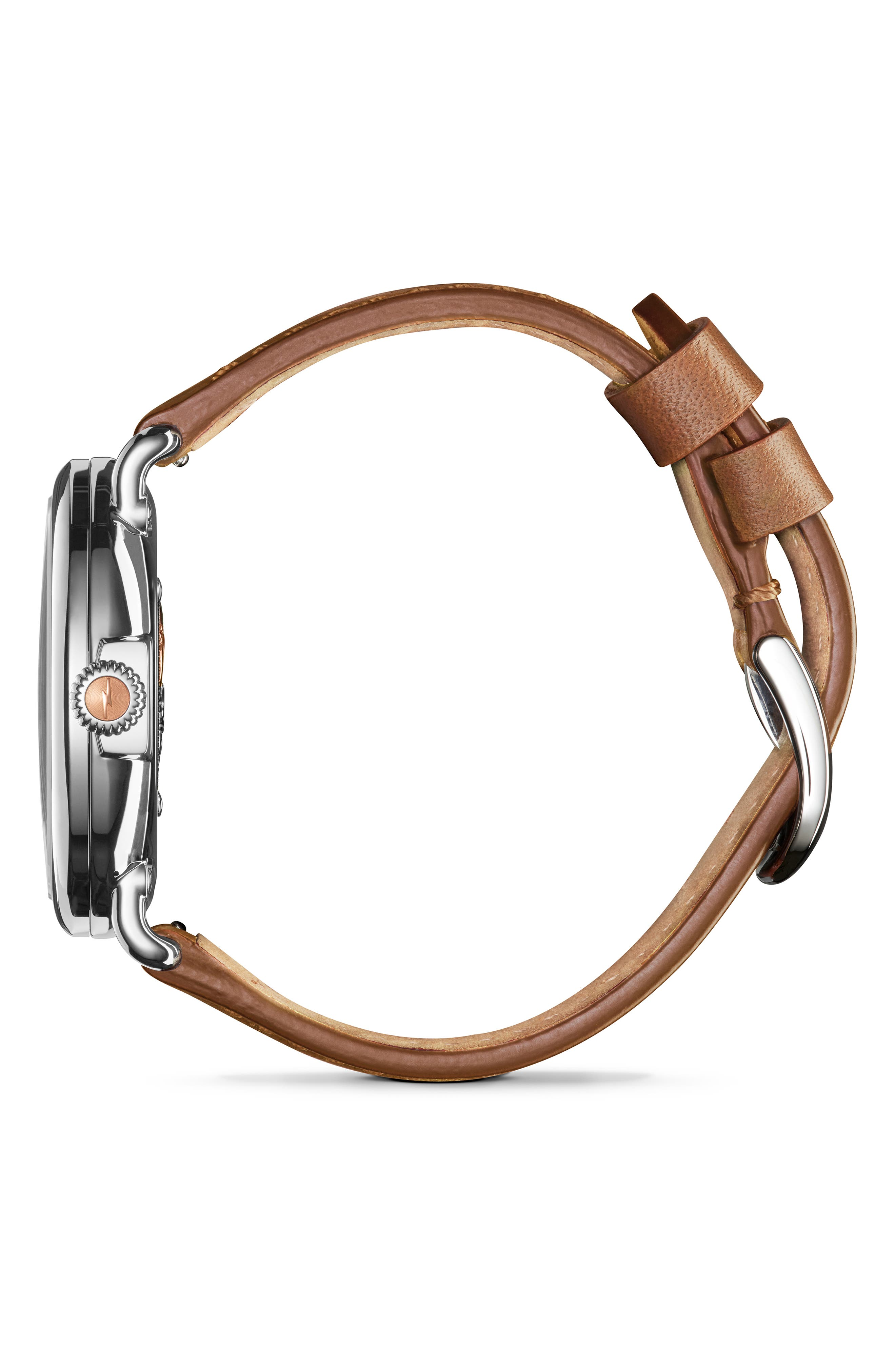 The Runwell - Statue of Liberty Leather Strap Watch, 41mm,                             Alternate thumbnail 3, color,                             BROWN/ GREY/ SILVER