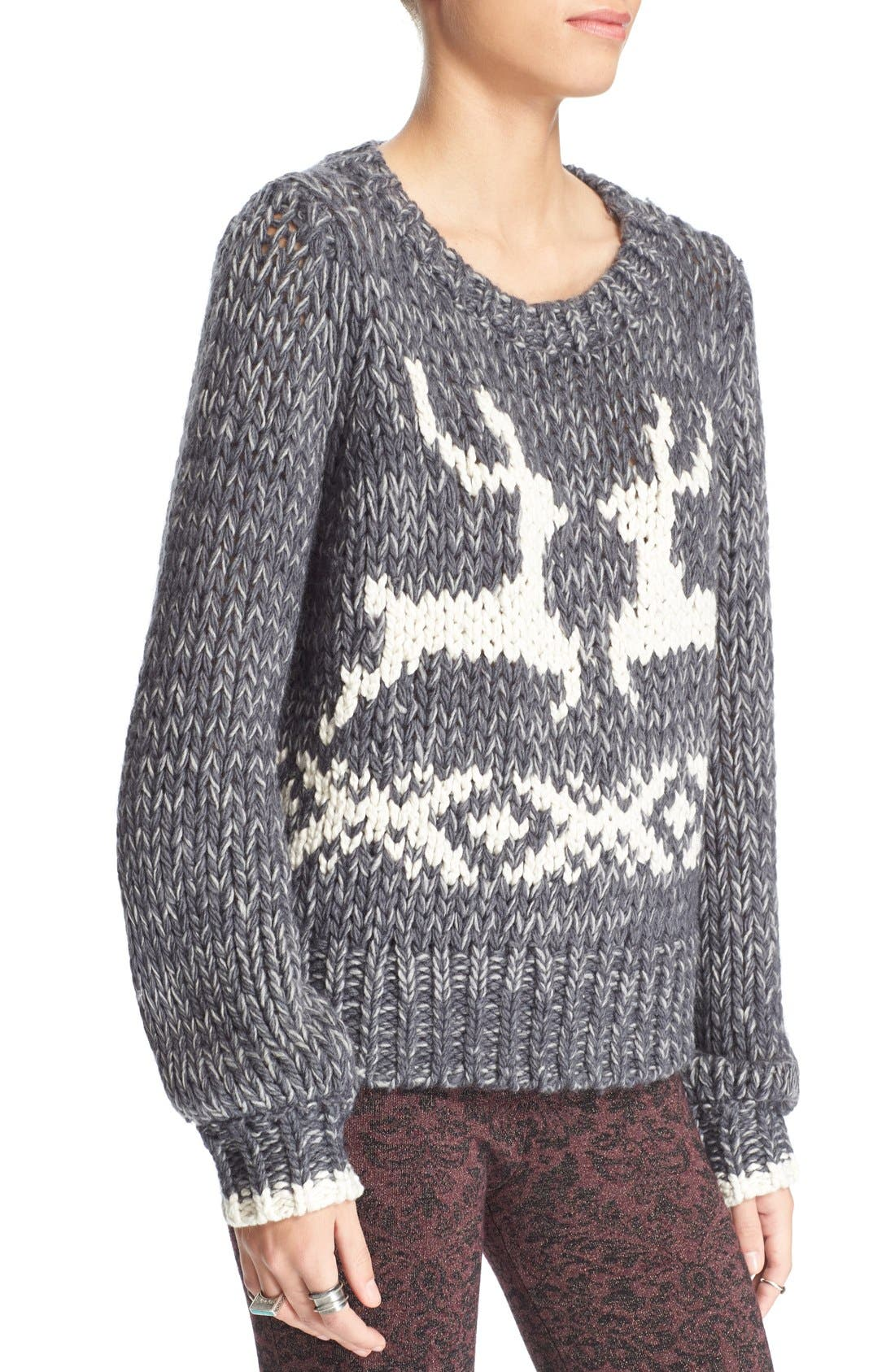 'Dancer and Prancer' Sweater,                             Alternate thumbnail 2, color,                             020