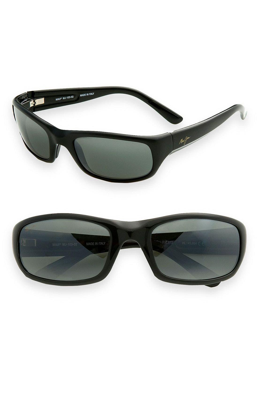 'Stingray - PolarizedPlus<sup>®</sup>2' 56mm Sunglasses,                             Main thumbnail 1, color,                             BLACK