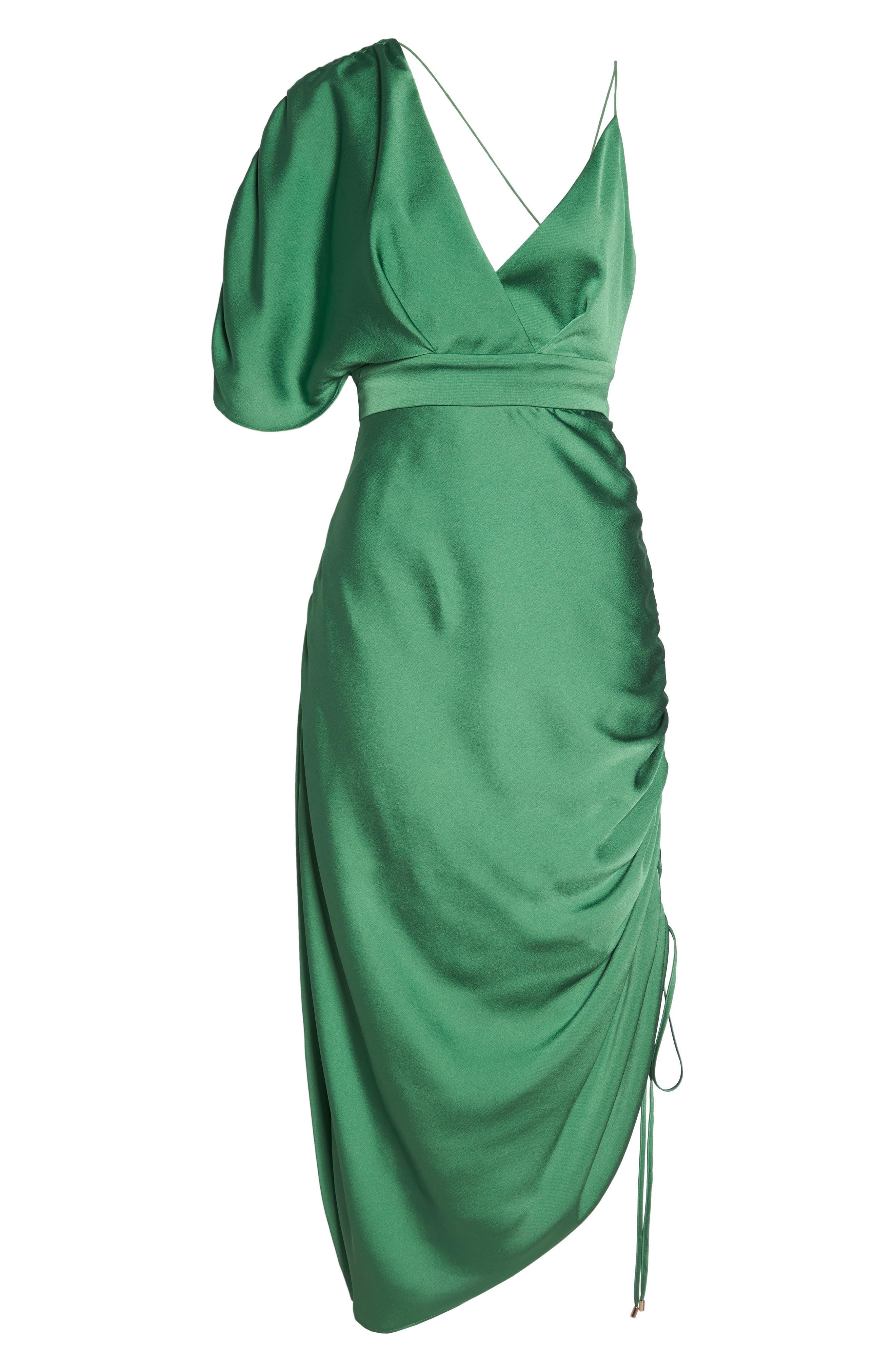 I've Got You Asymmetrical Satin Dress,                             Alternate thumbnail 6, color,                             310