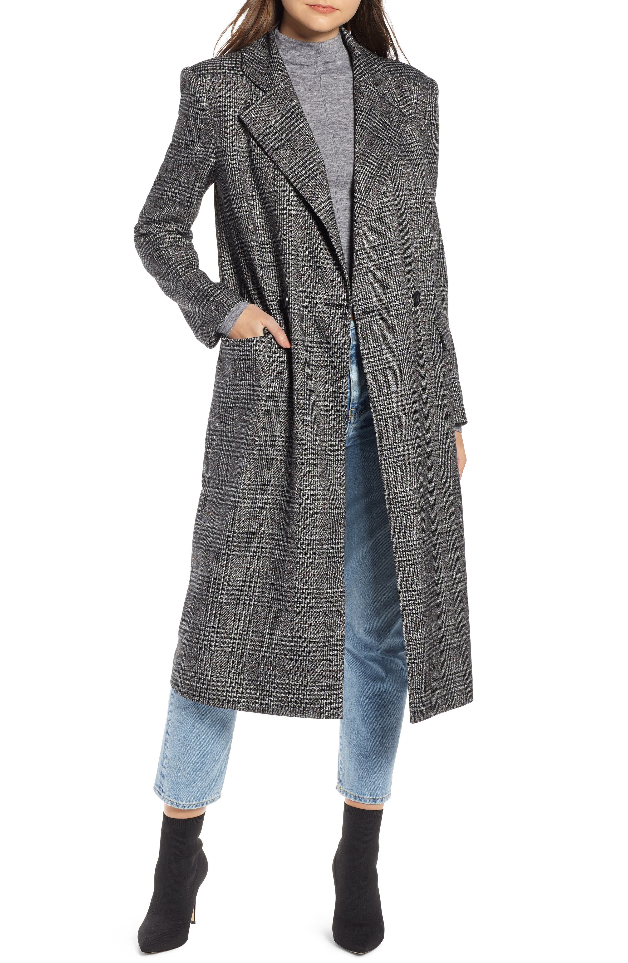 SOMETHING NAVY Plaid Topper Coat, Main, color, 001