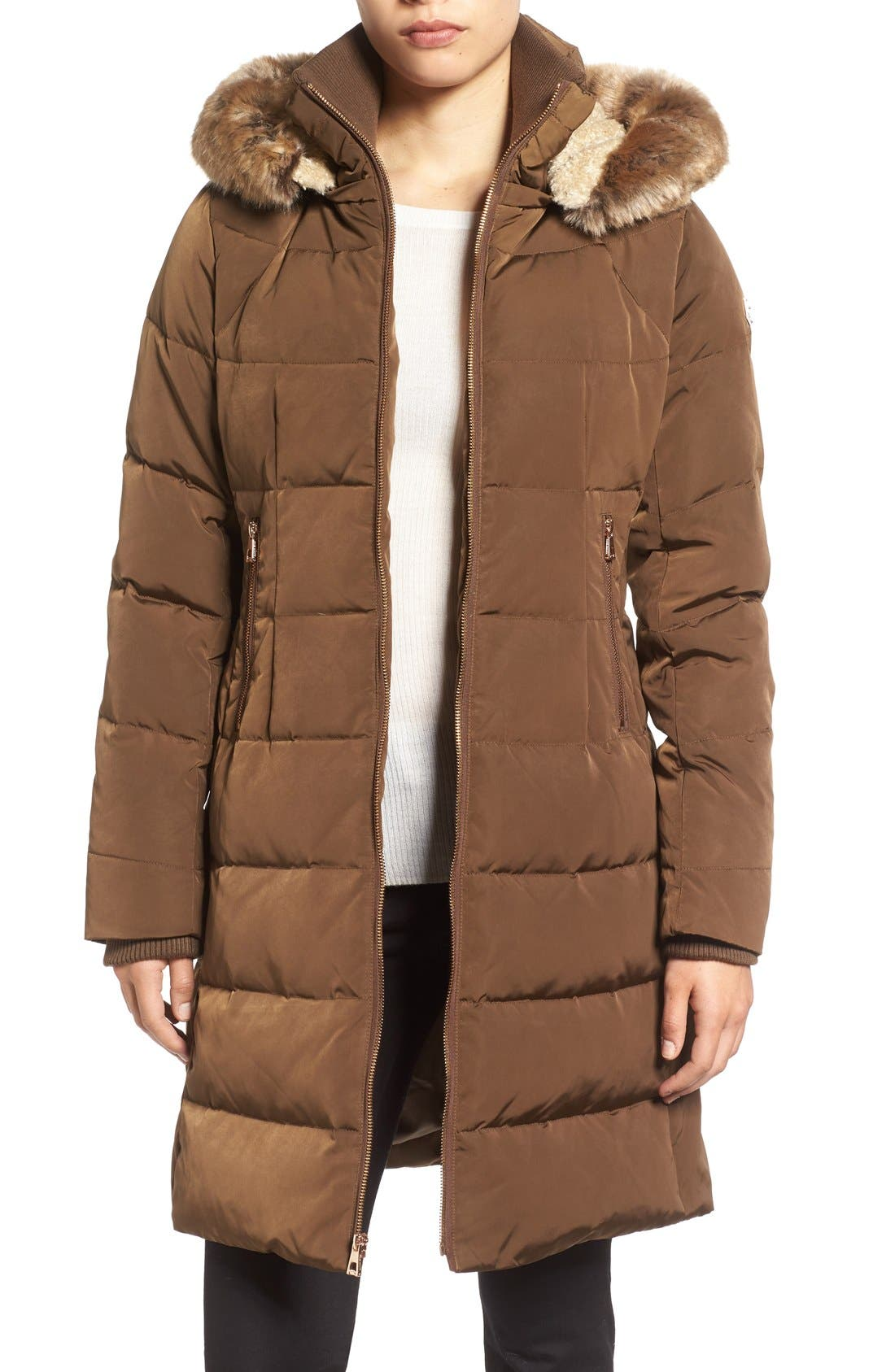 Down & Feather Fill Coat with Faux Fur Trim Hood,                             Main thumbnail 5, color,
