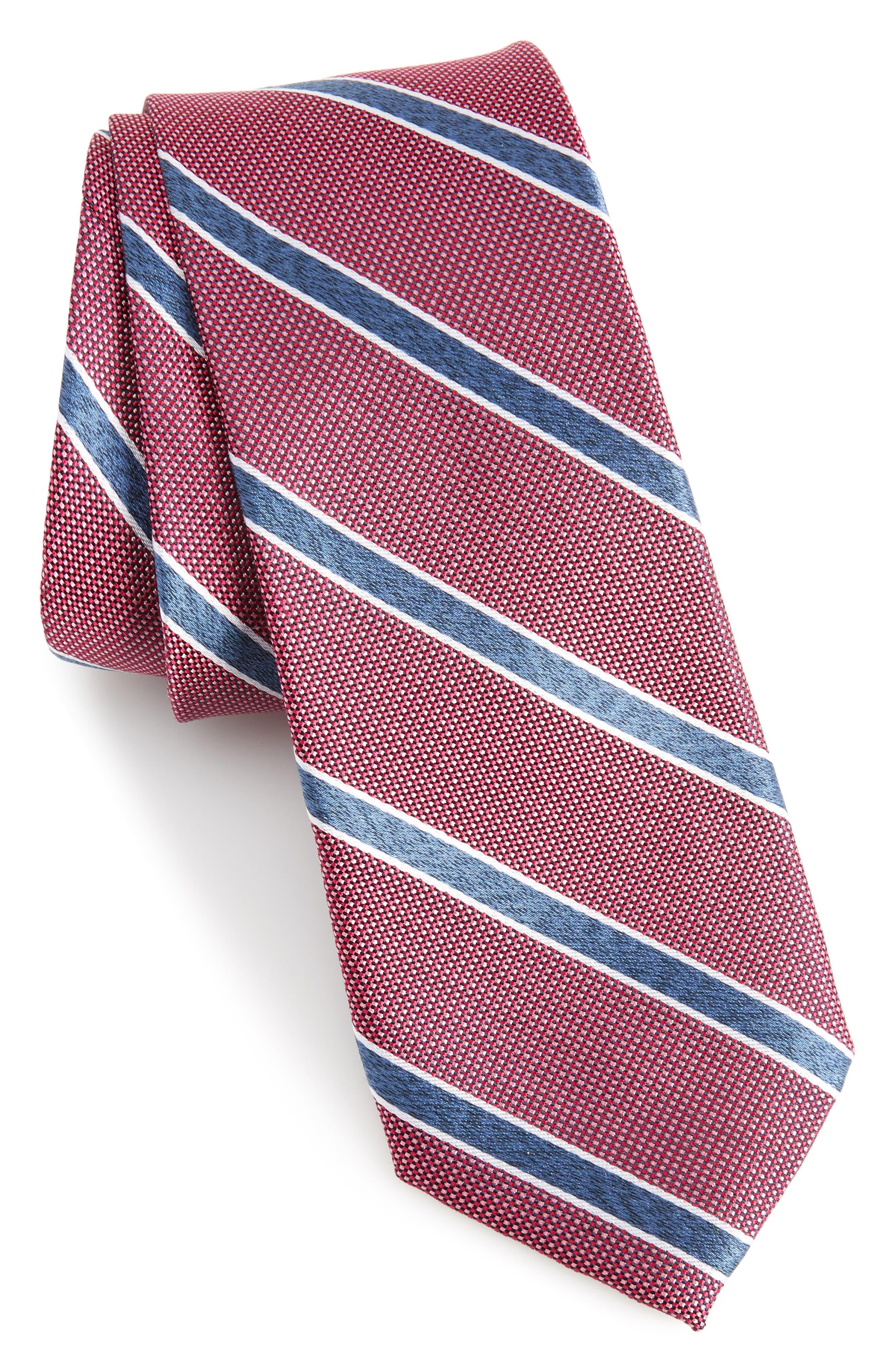 Fontana Stripe Silk Skinny Tie,                             Main thumbnail 1, color,