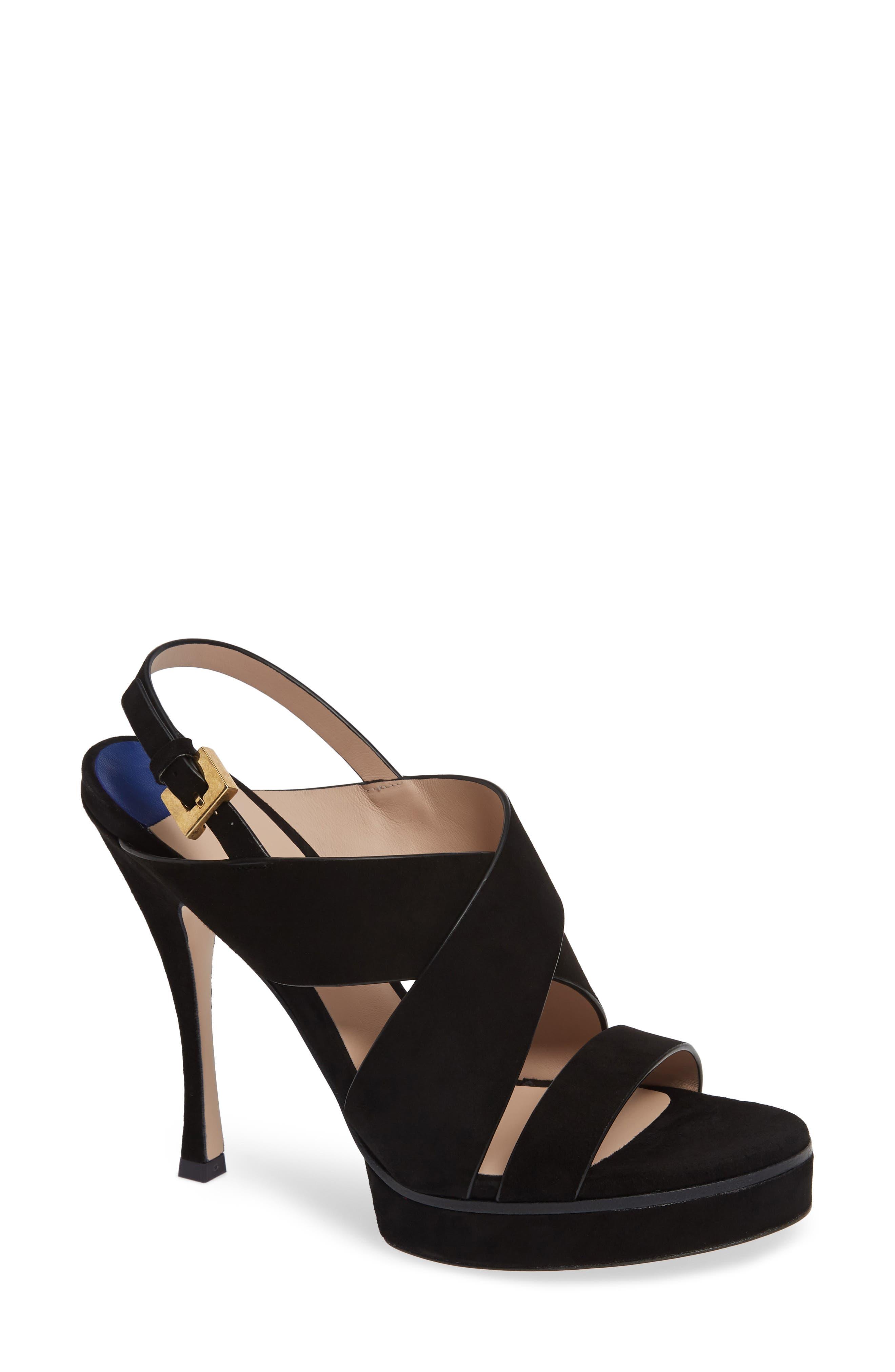 Stuart Weitzman Hester Cross Strap Sandal- Black