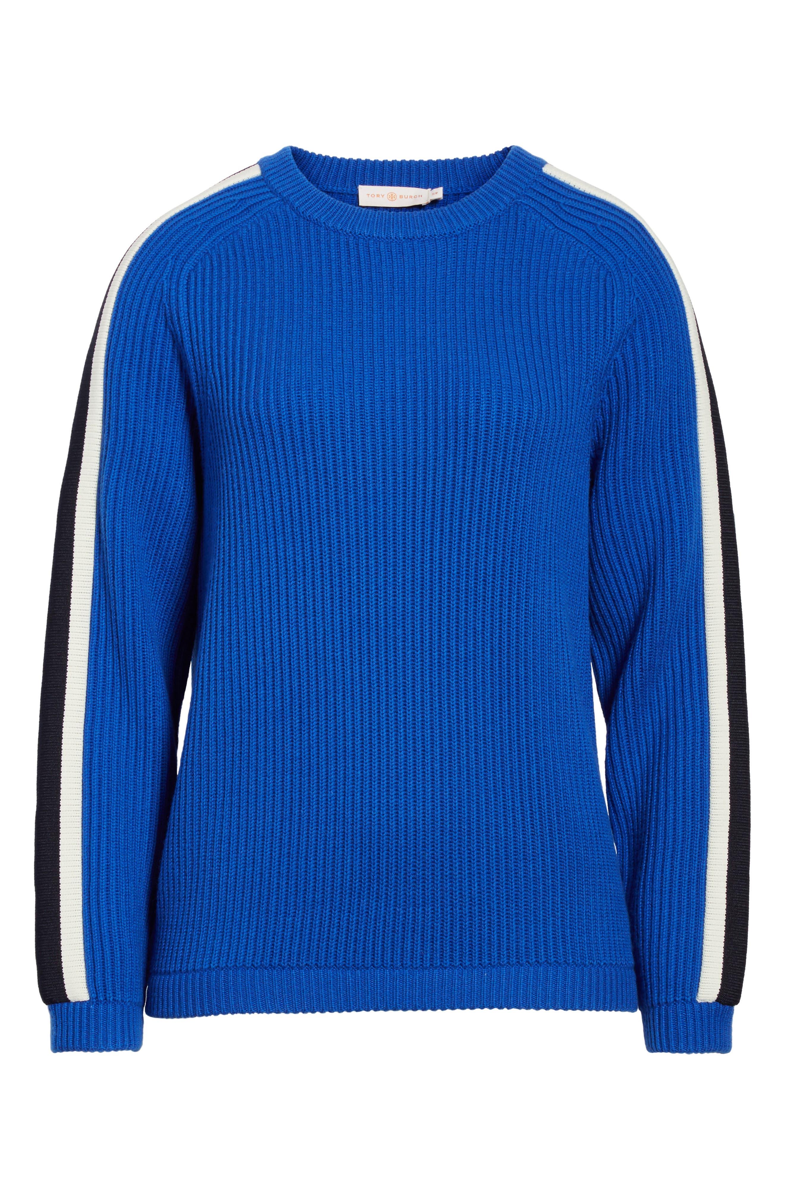 Val Stripe Sleeve Sweater,                             Alternate thumbnail 6, color,                             418