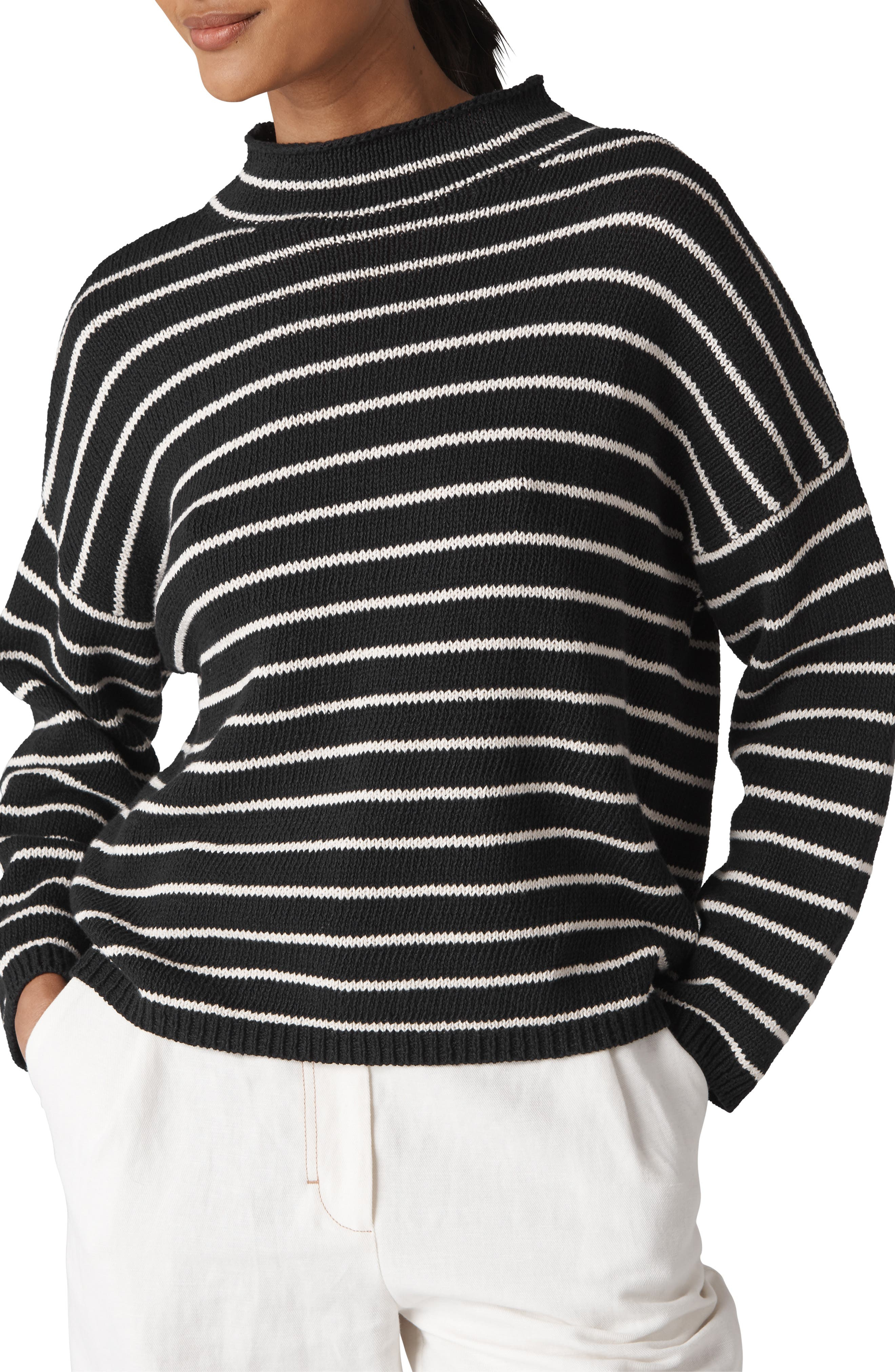 Fine Stripe Relaxed Sweater,                             Main thumbnail 1, color,                             001