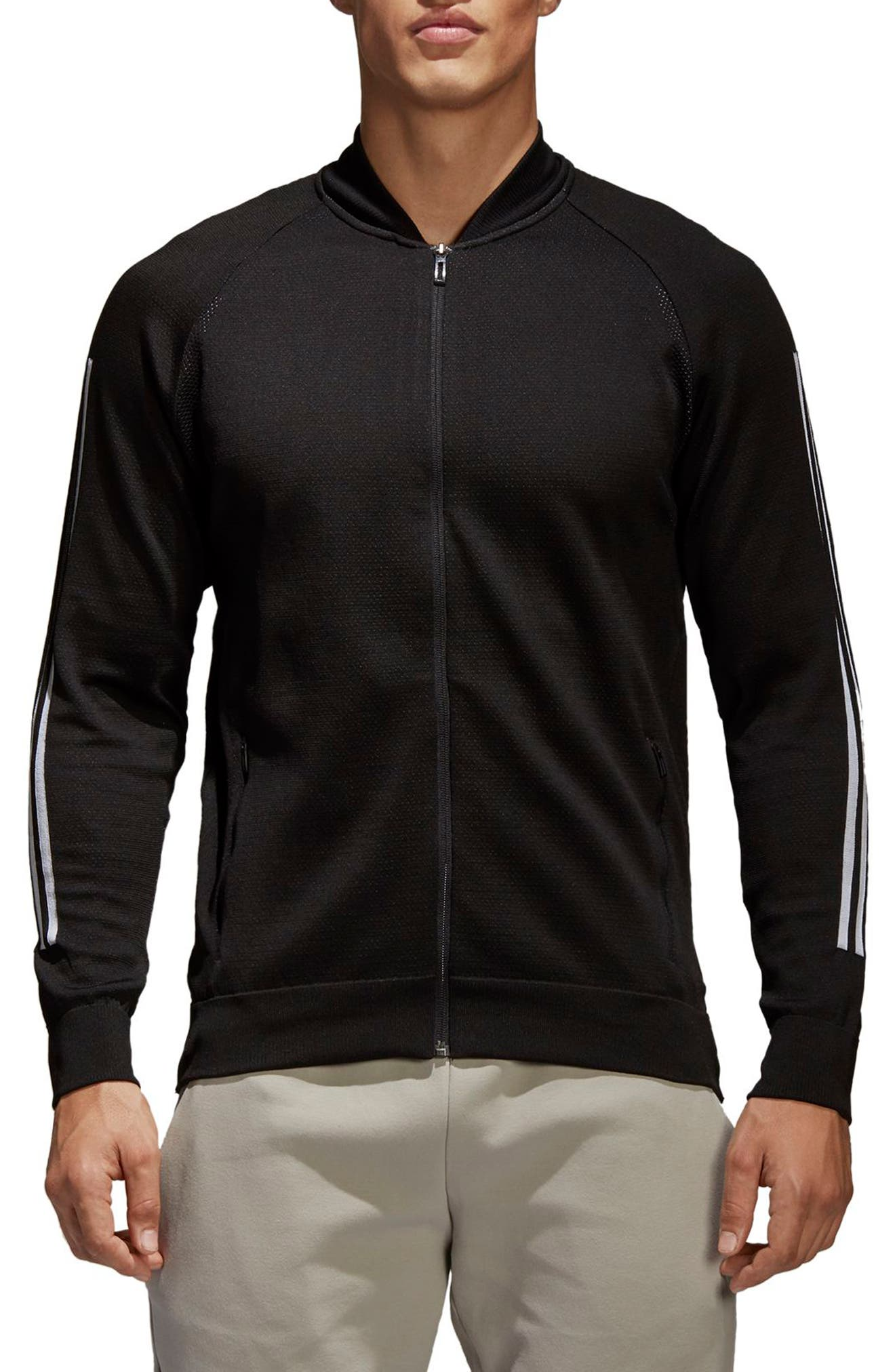 ID Knit Track Jacket,                         Main,                         color, BLACK
