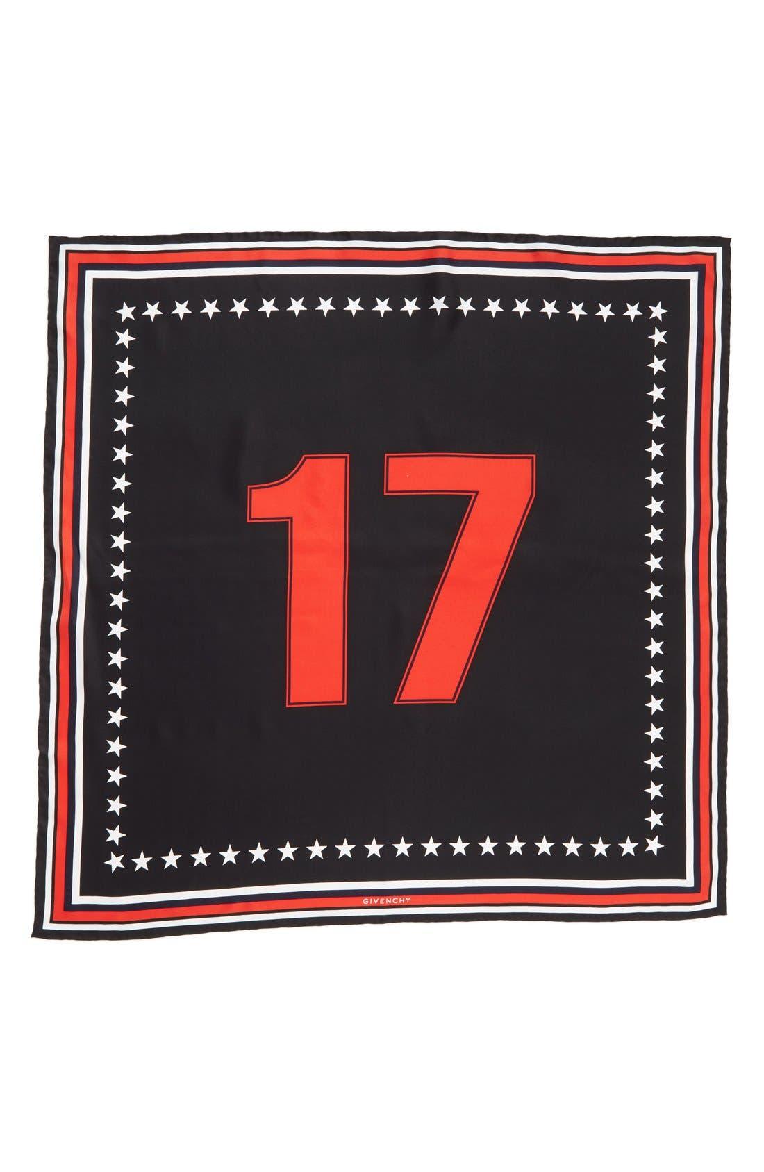 '17' Square Silk Scarf,                             Alternate thumbnail 6, color,