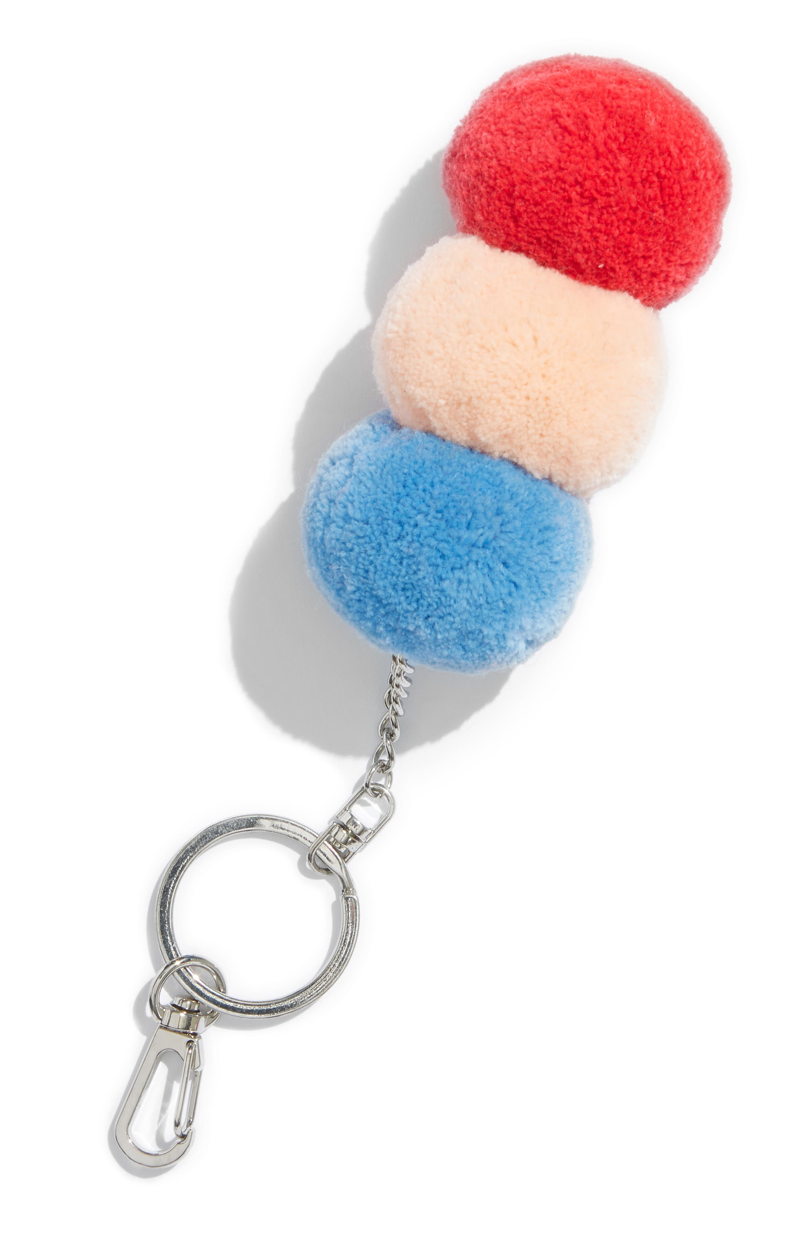 Stacked Pom Bag Charm,                         Main,                         color, SILVER LAKE BLUE