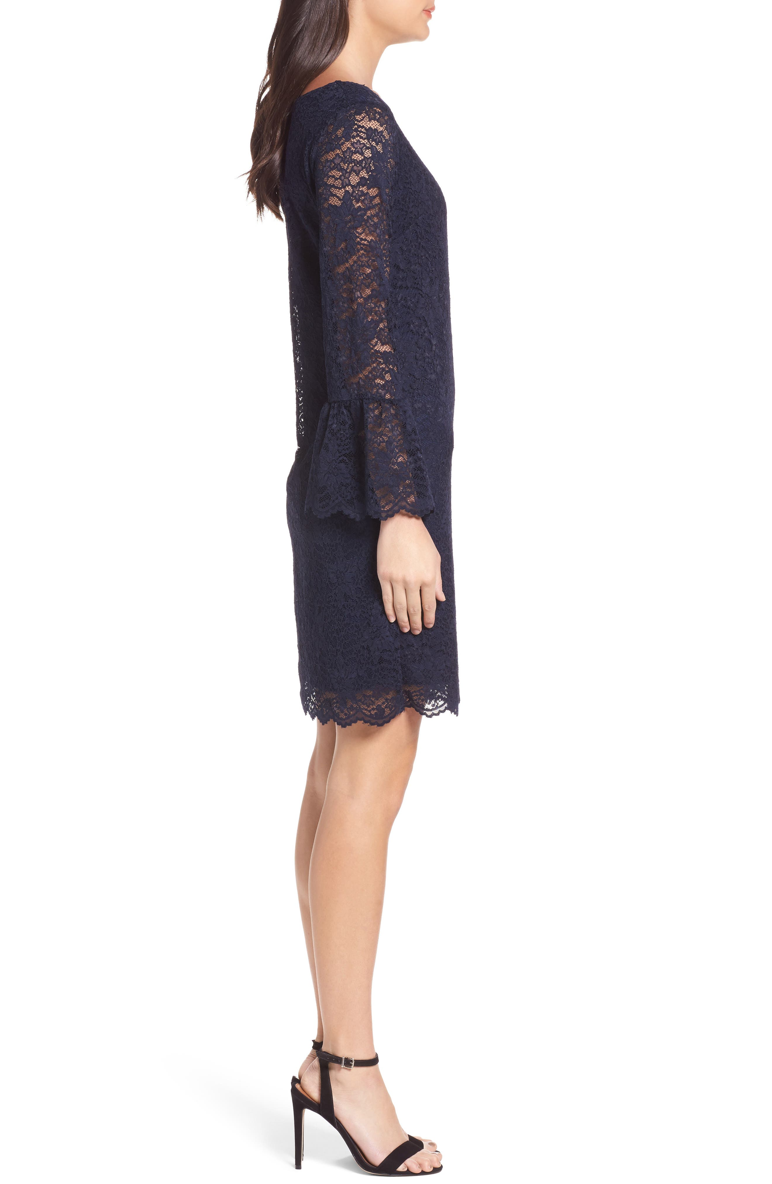 Lace Bell Sleeve Shift Dress,                             Alternate thumbnail 3, color,                             410