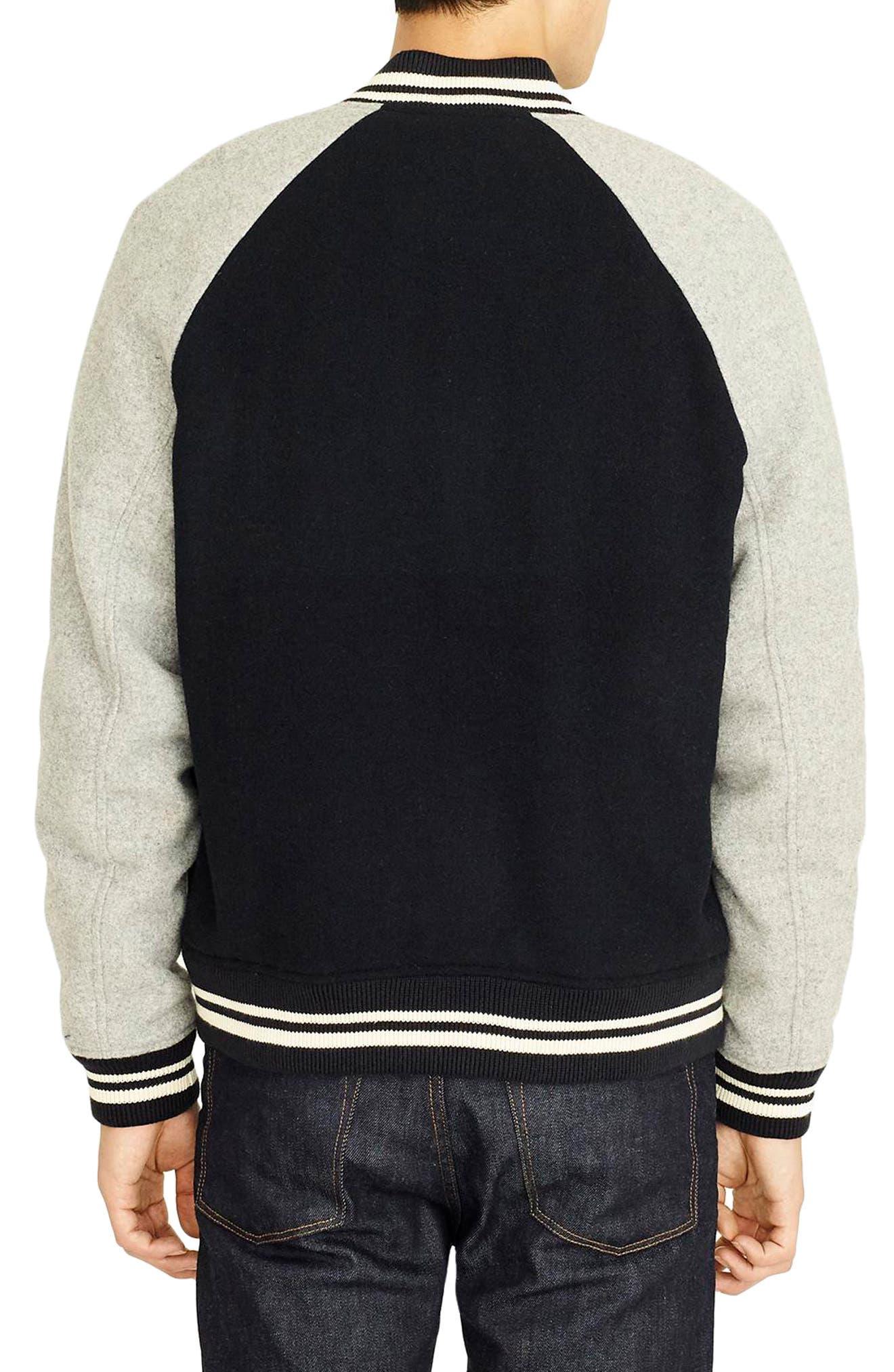 Letterman Wool Blend Jacket,                             Alternate thumbnail 2, color,                             DEEPEST NAVY