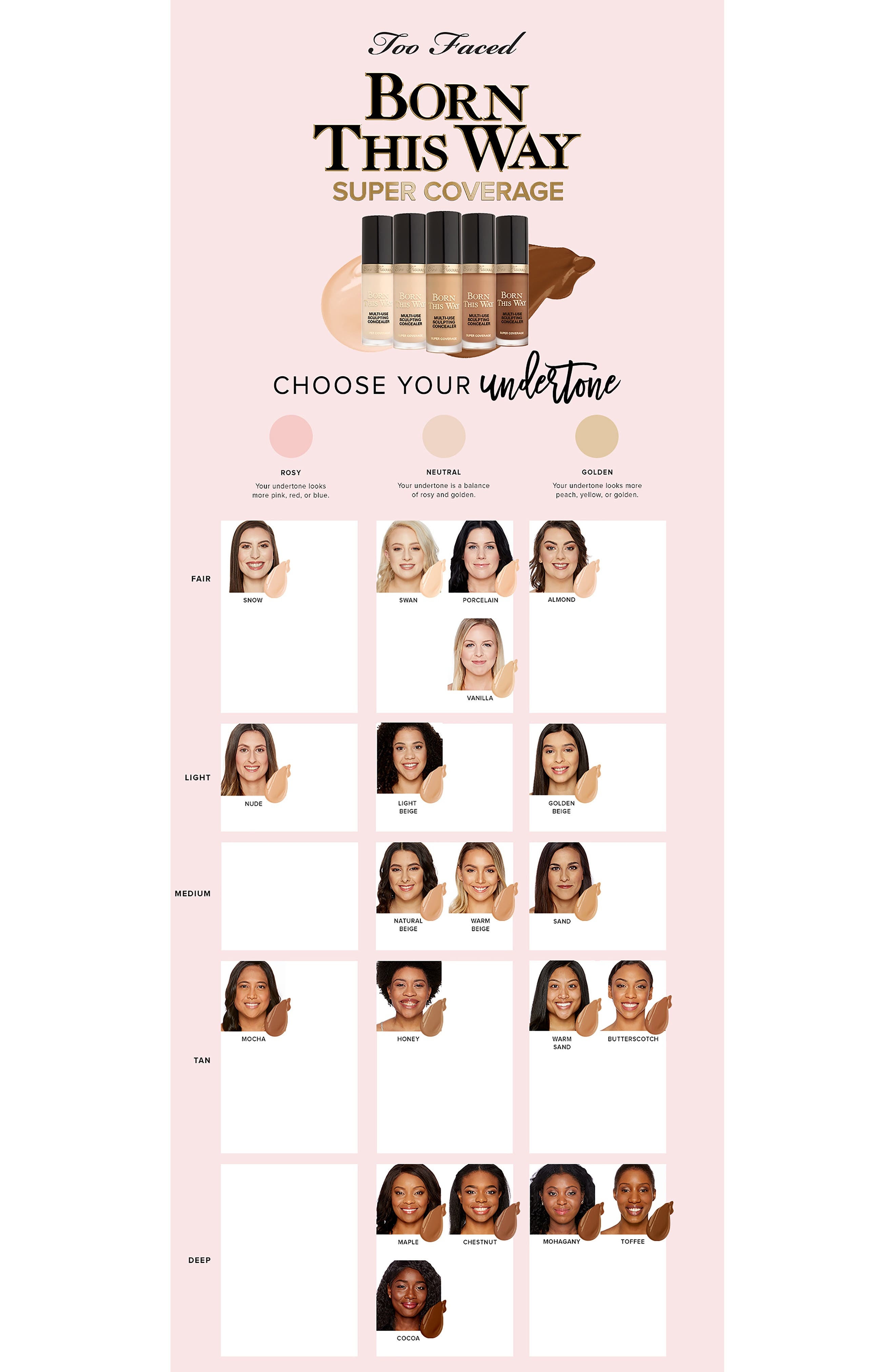 TOO FACED,                             Born This Way Super Coverage Multi-Use Sculpting Concealer,                             Alternate thumbnail 3, color,                             HONEY
