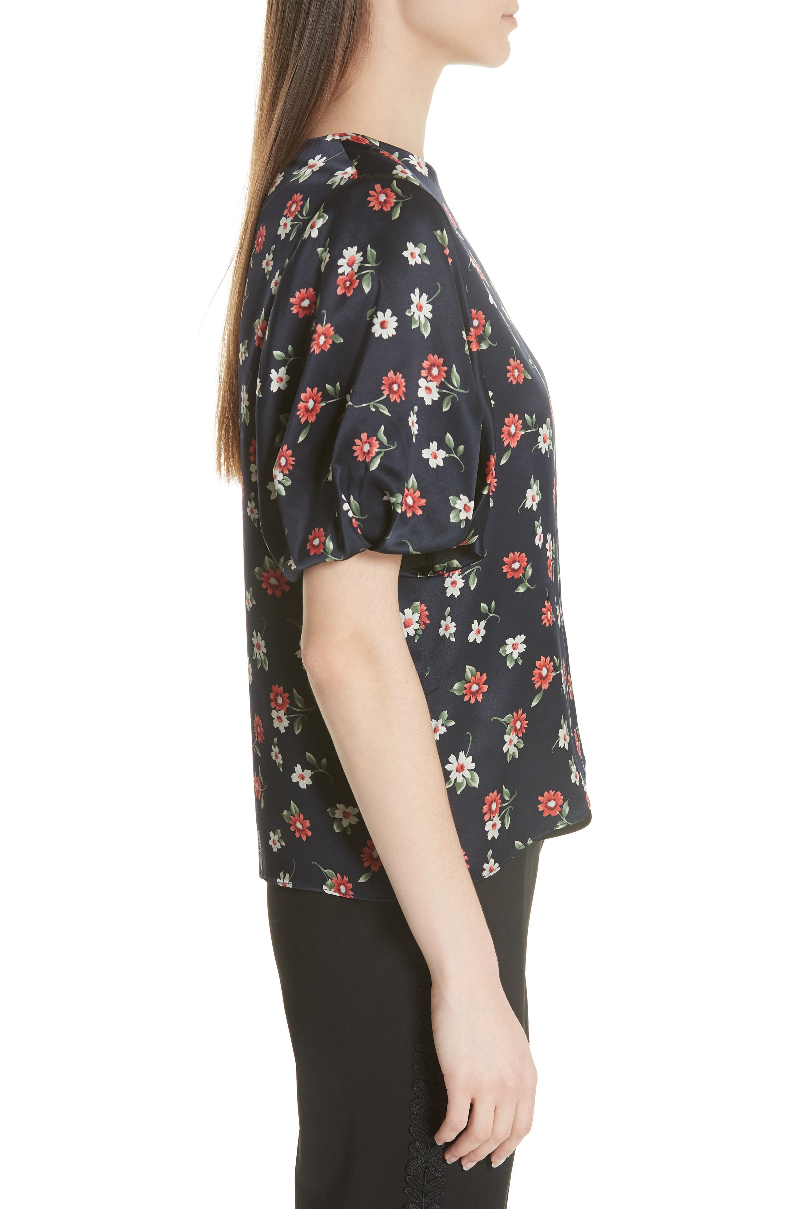Melinda Puff Sleeve Floral Blouse,                             Alternate thumbnail 3, color,                             004