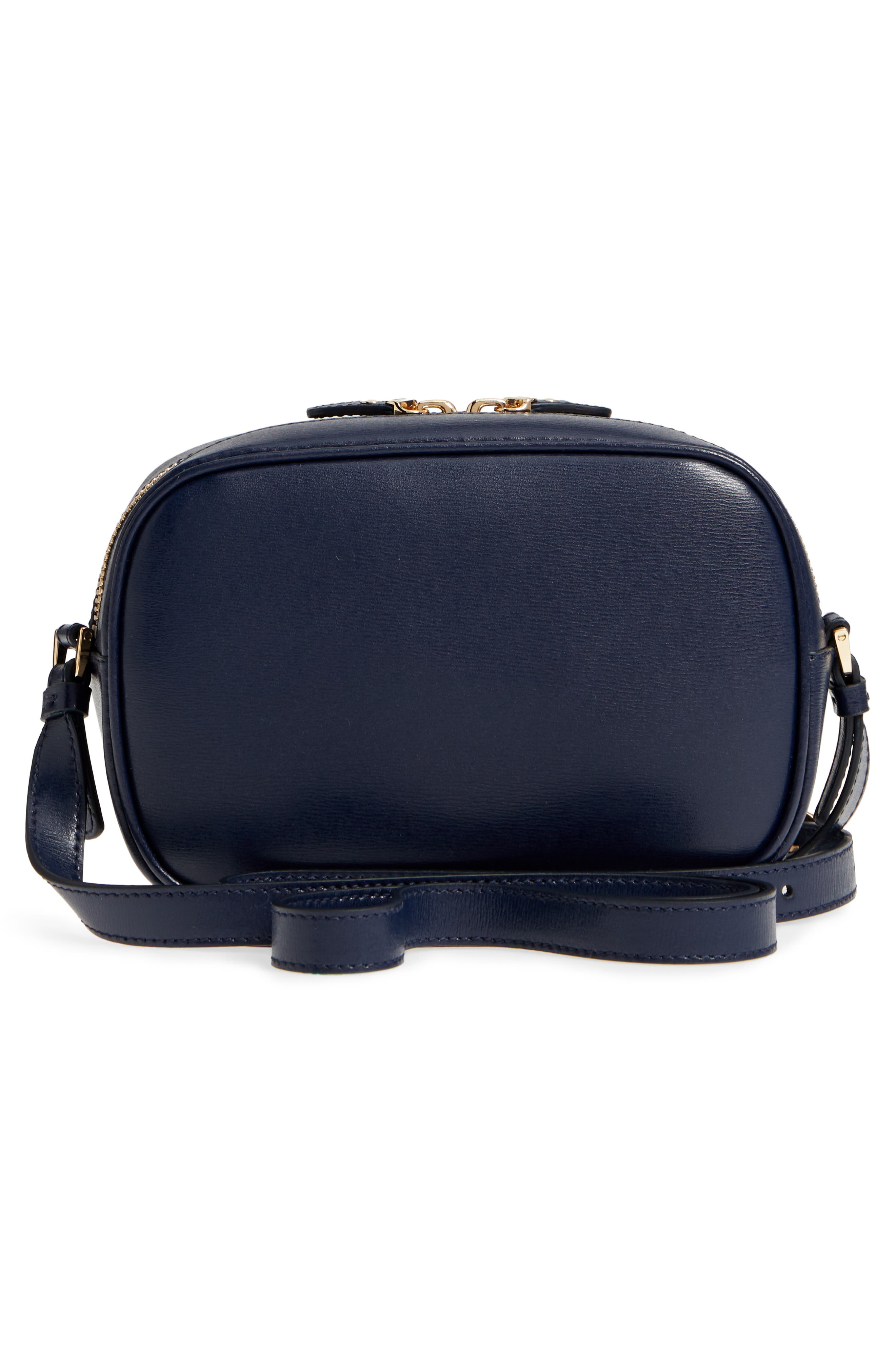 Gancio Metallic Leather Camera Bag,                             Alternate thumbnail 3, color,                             NAVY