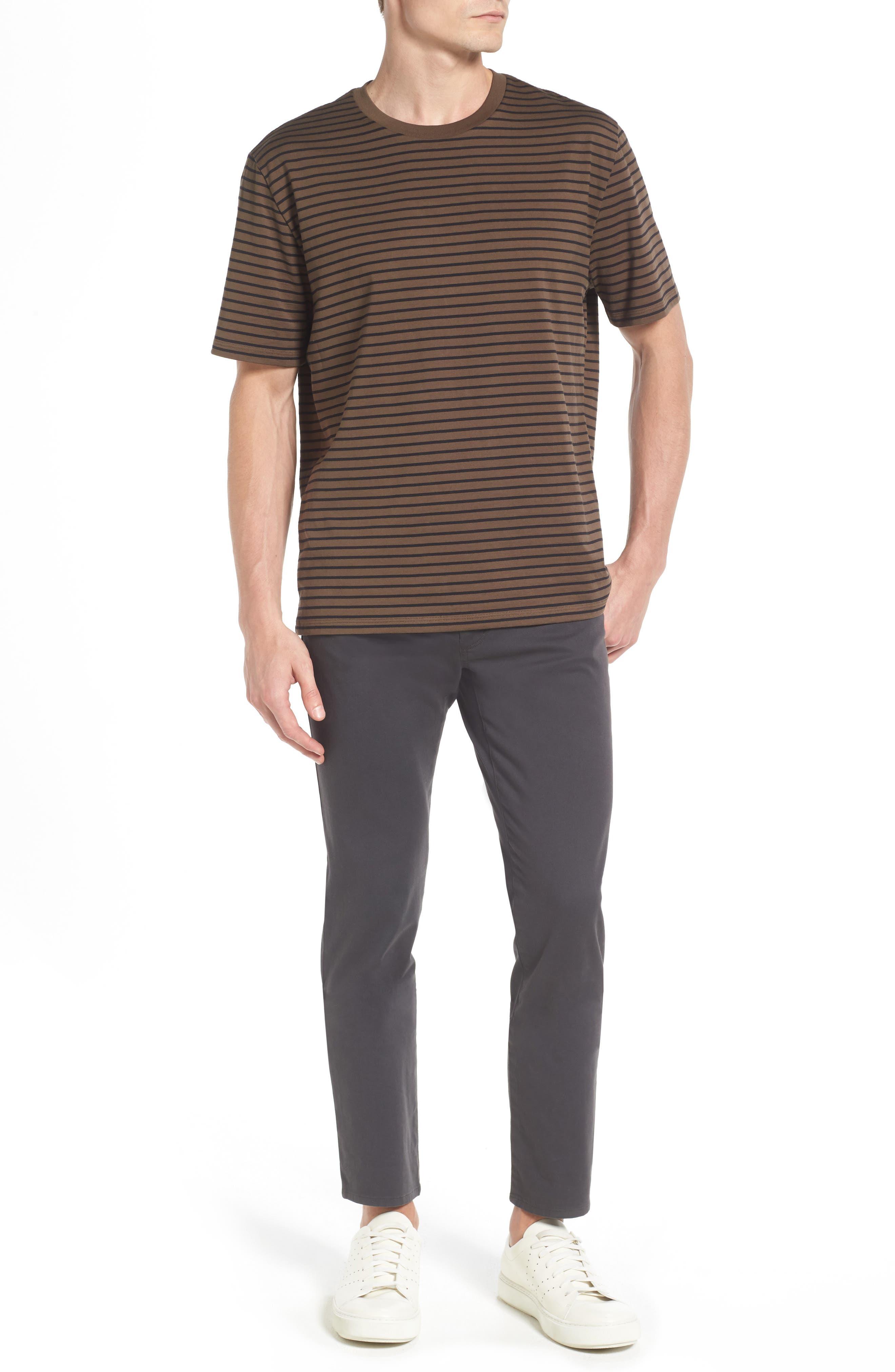 Narrow Stripe Pima Cotton T-Shirt,                             Alternate thumbnail 6, color,                             245