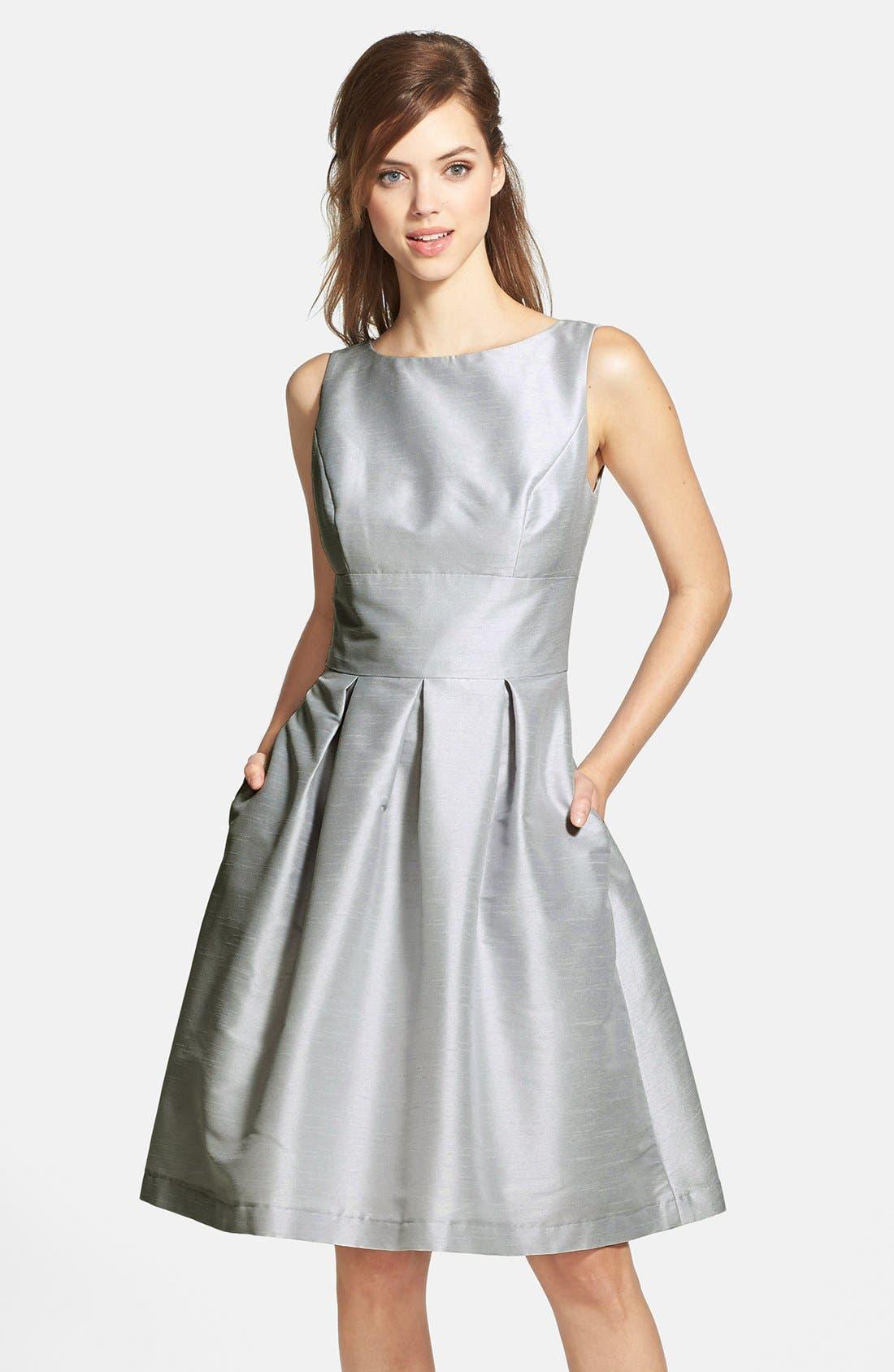 Dupioni Fit & Flare Dress,                             Main thumbnail 5, color,