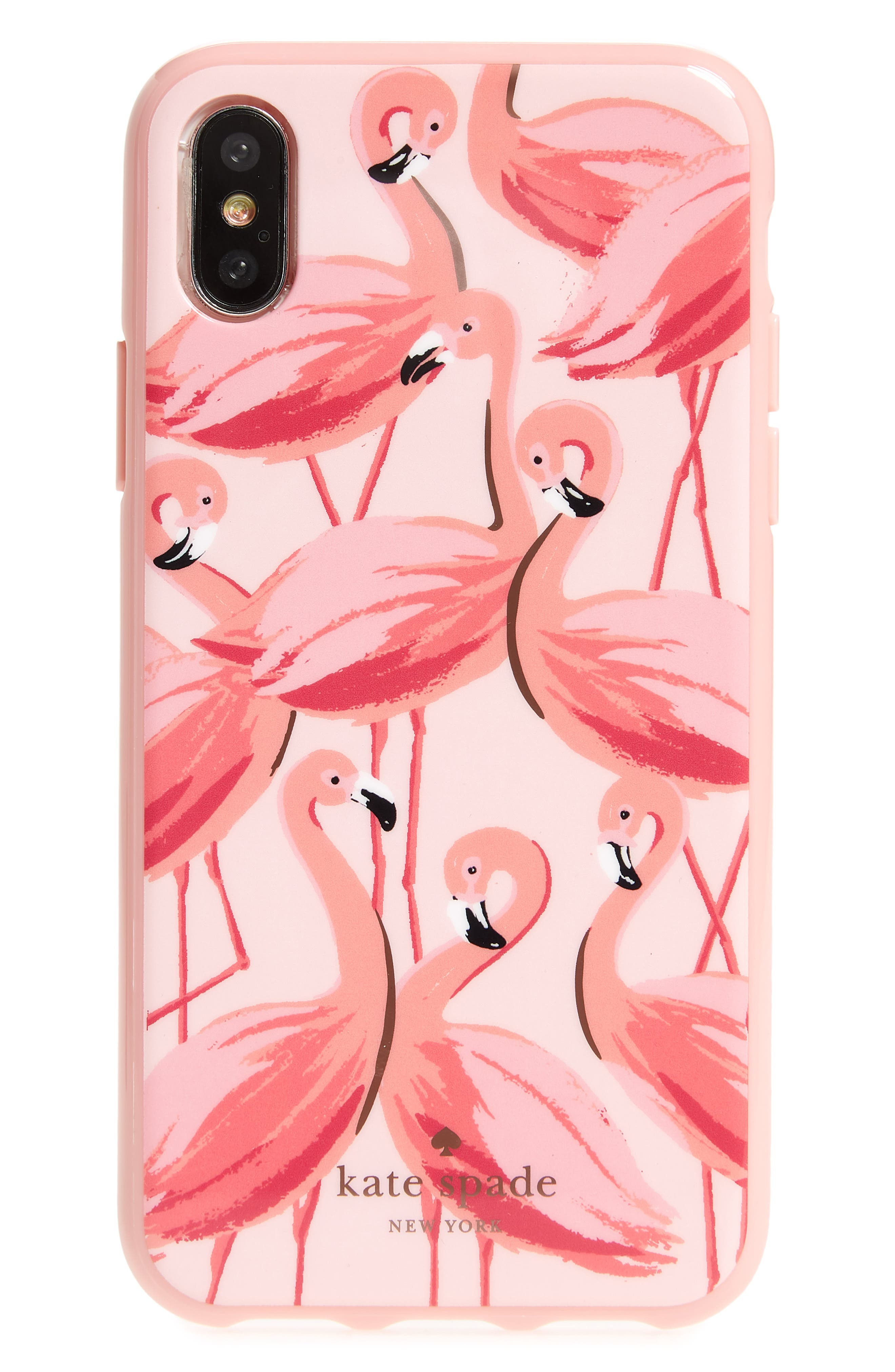 KATE SPADE NEW YORK,                             painted flamingos iPhone X/Xs case,                             Main thumbnail 1, color,                             673