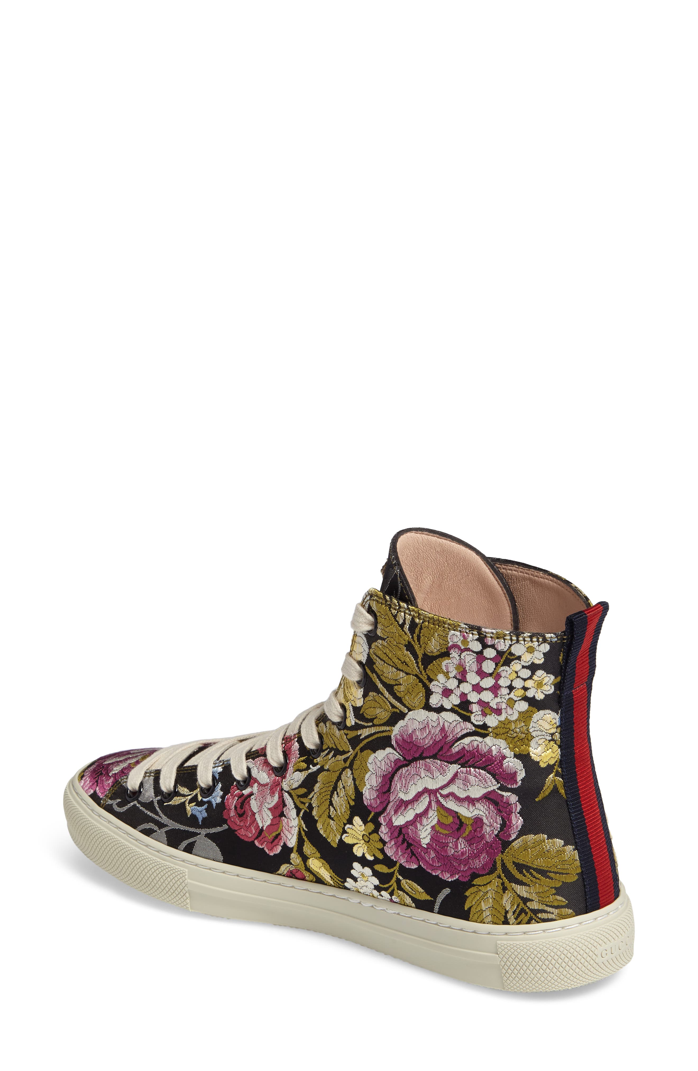 Floral High Top Sneaker,                             Alternate thumbnail 2, color,                             001