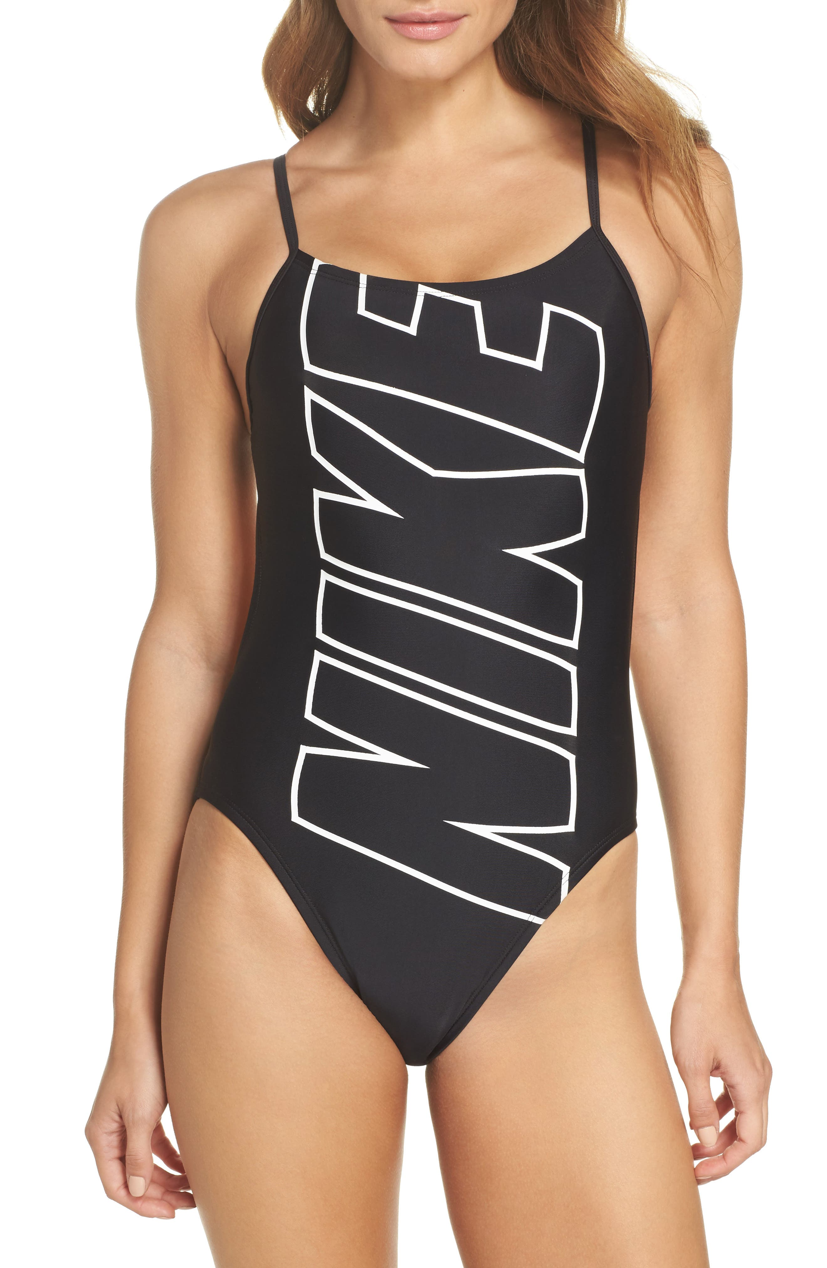 NIKE,                             Crossback One-Piece Swimsuit,                             Main thumbnail 1, color,                             001