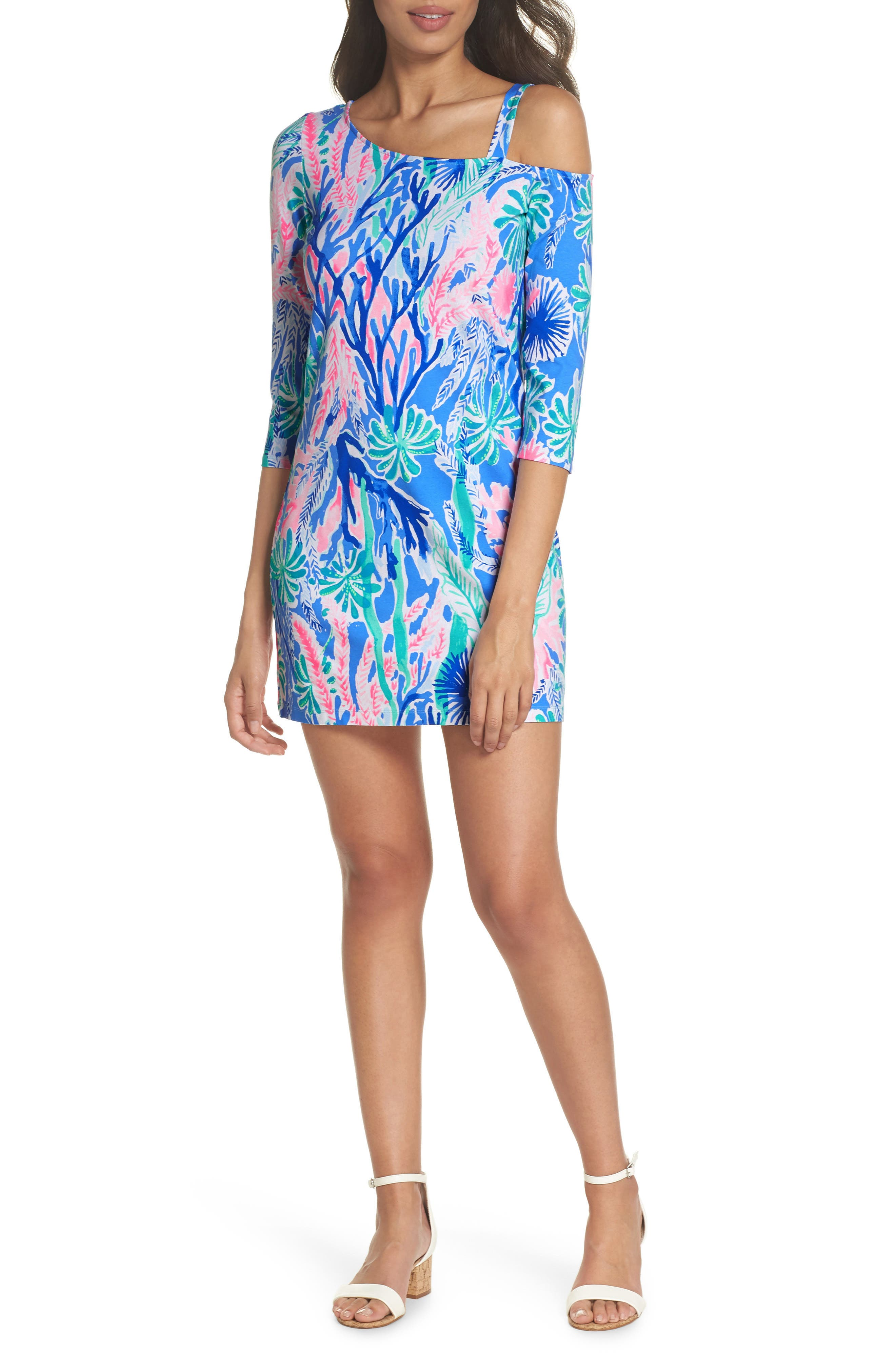 Lilly Pulitzer One-Shoulder Minidress, Blue