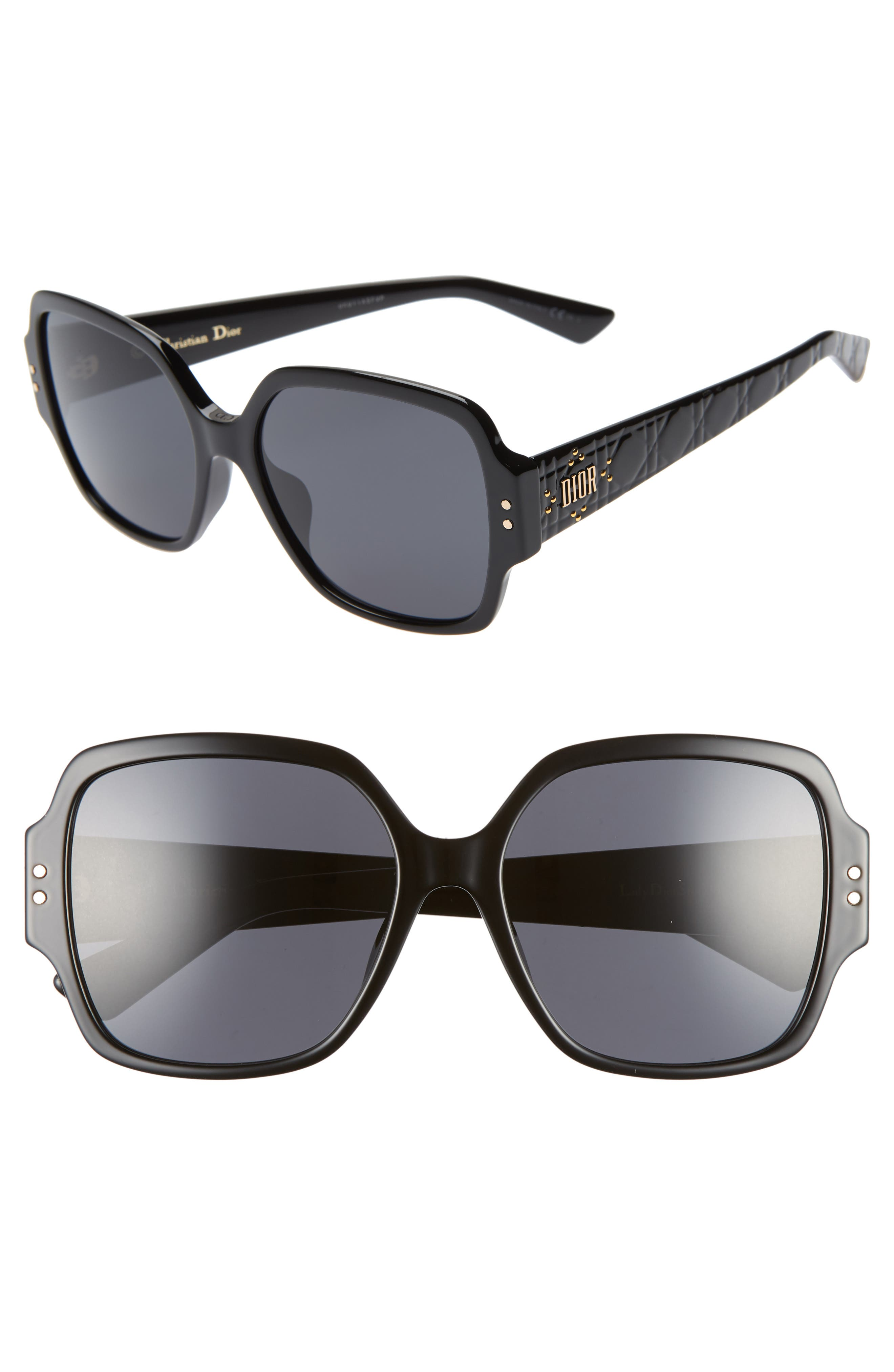 DIOR Lady Dior Stud 57mm Special Fit Square Sunglasses, Main, color, BLACK