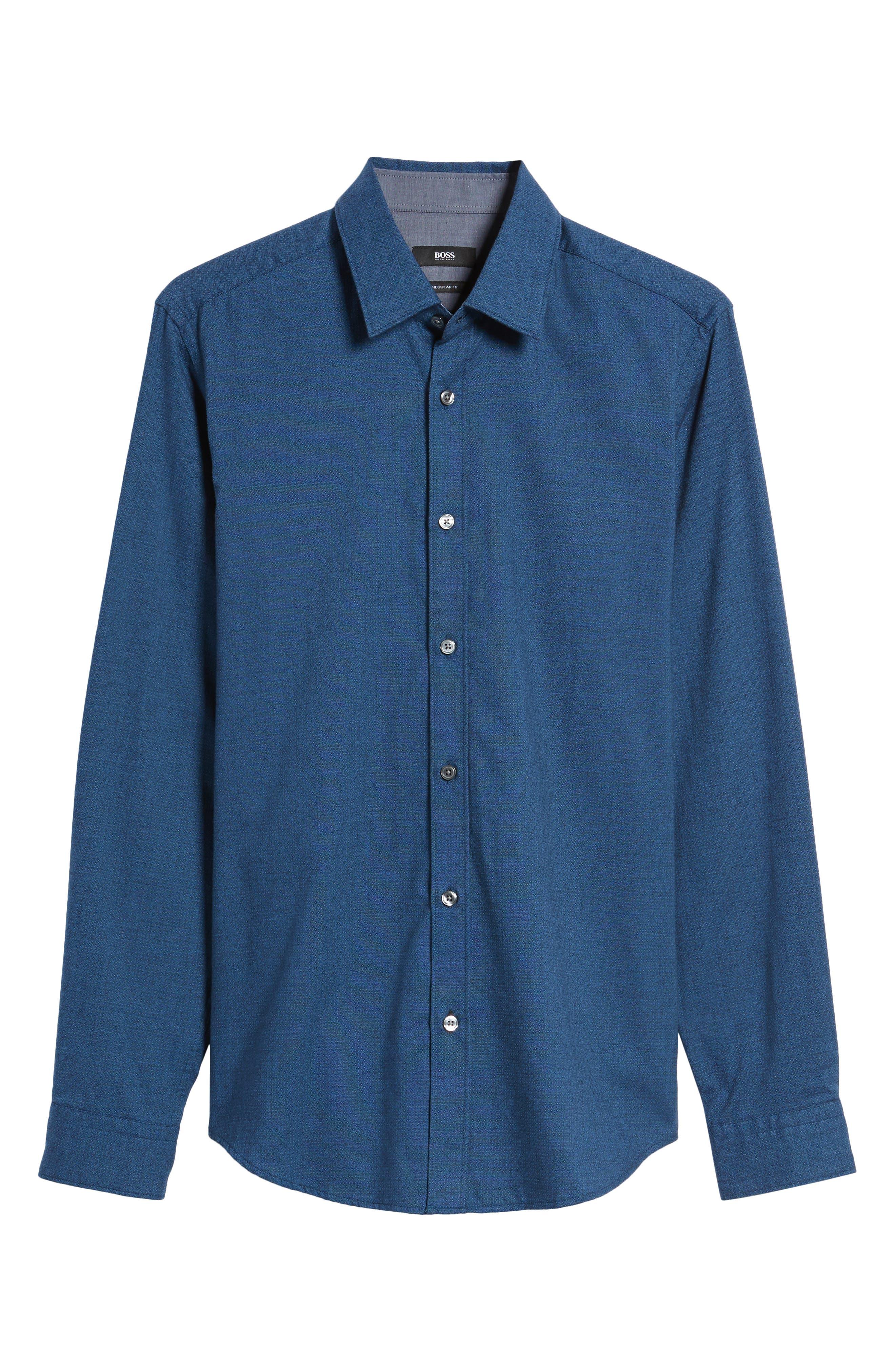 Lukas Regular Fit Microprint Flannel Sport Shirt,                             Alternate thumbnail 6, color,